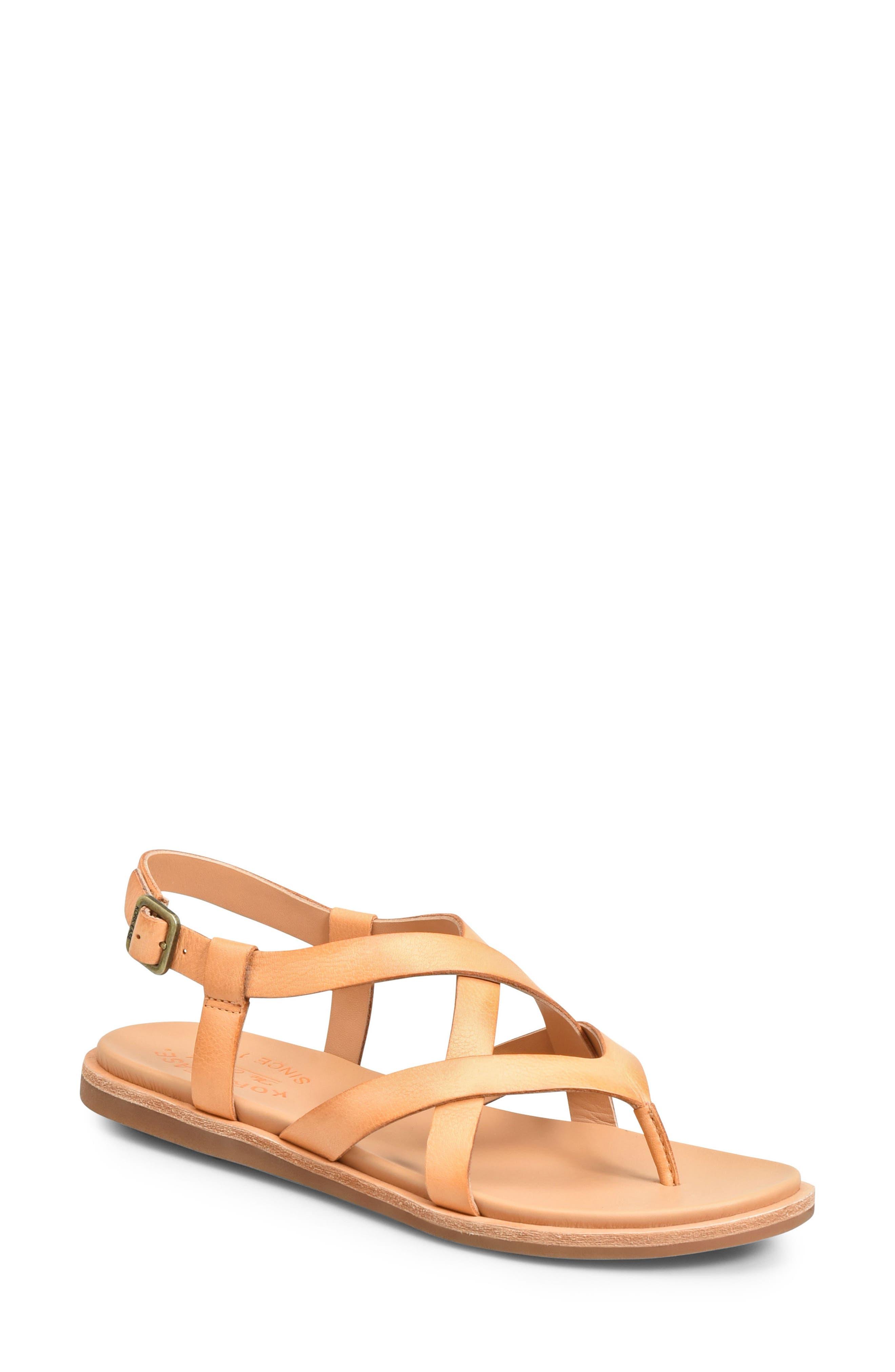 Yarbrough Sandal, Main, color, ORANGE LEATHER