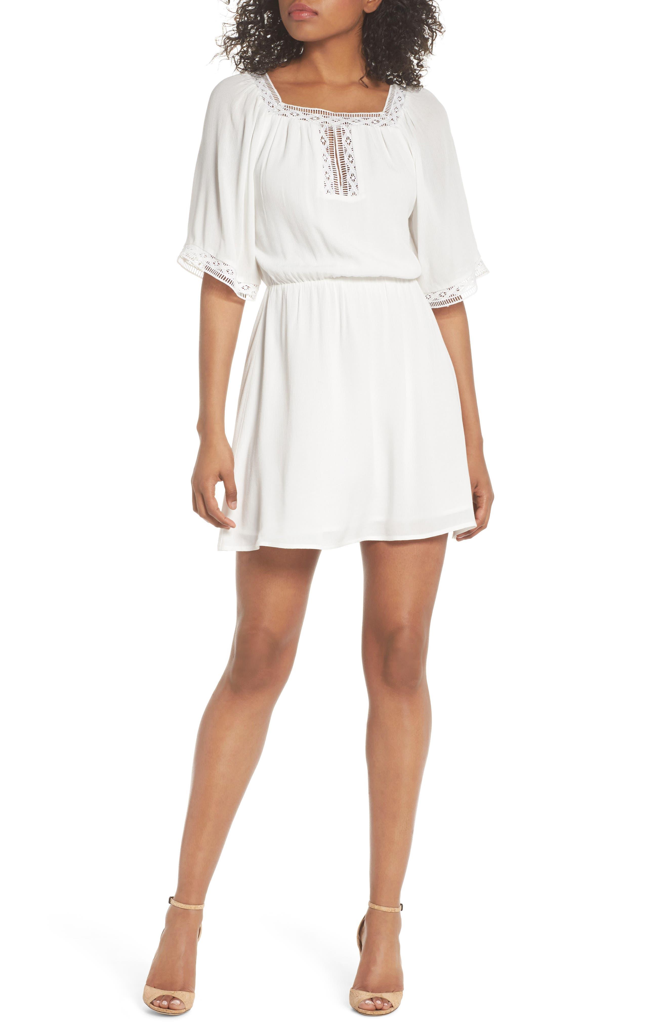 Lace Trim Peasant Minidress,                         Main,                         color,