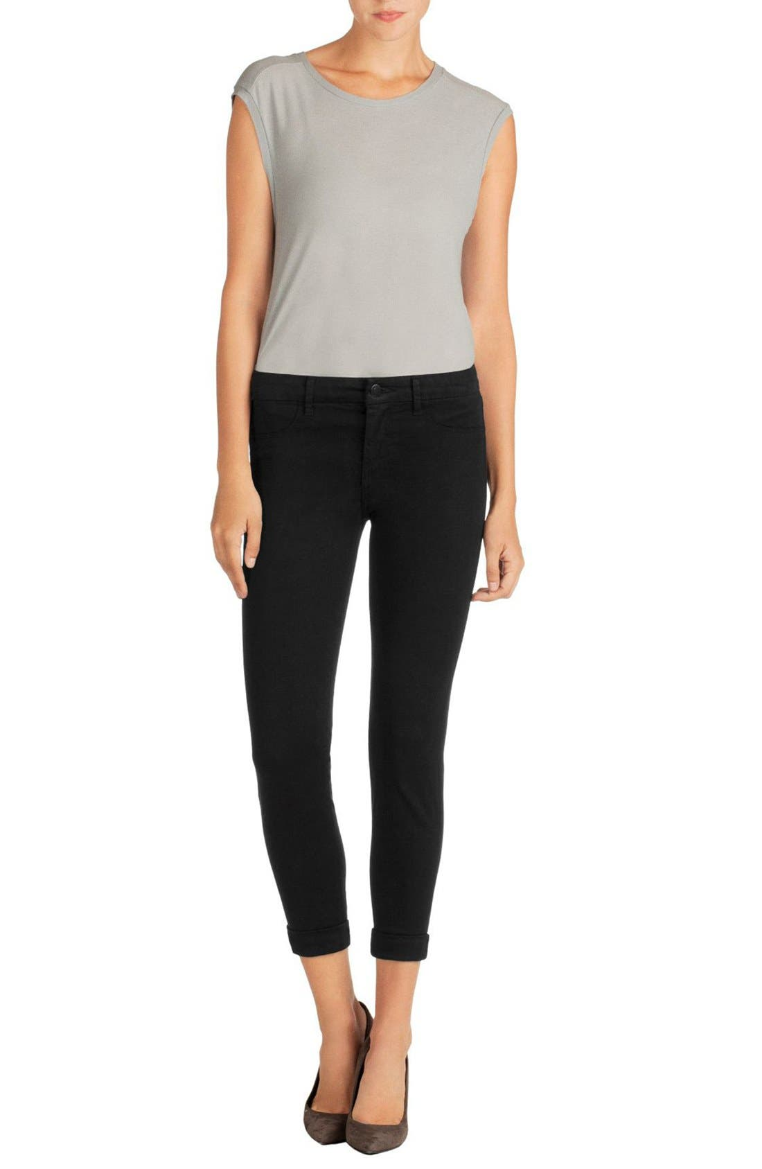 'Anja' Cuffed Crop Skinny Jeans,                             Alternate thumbnail 18, color,