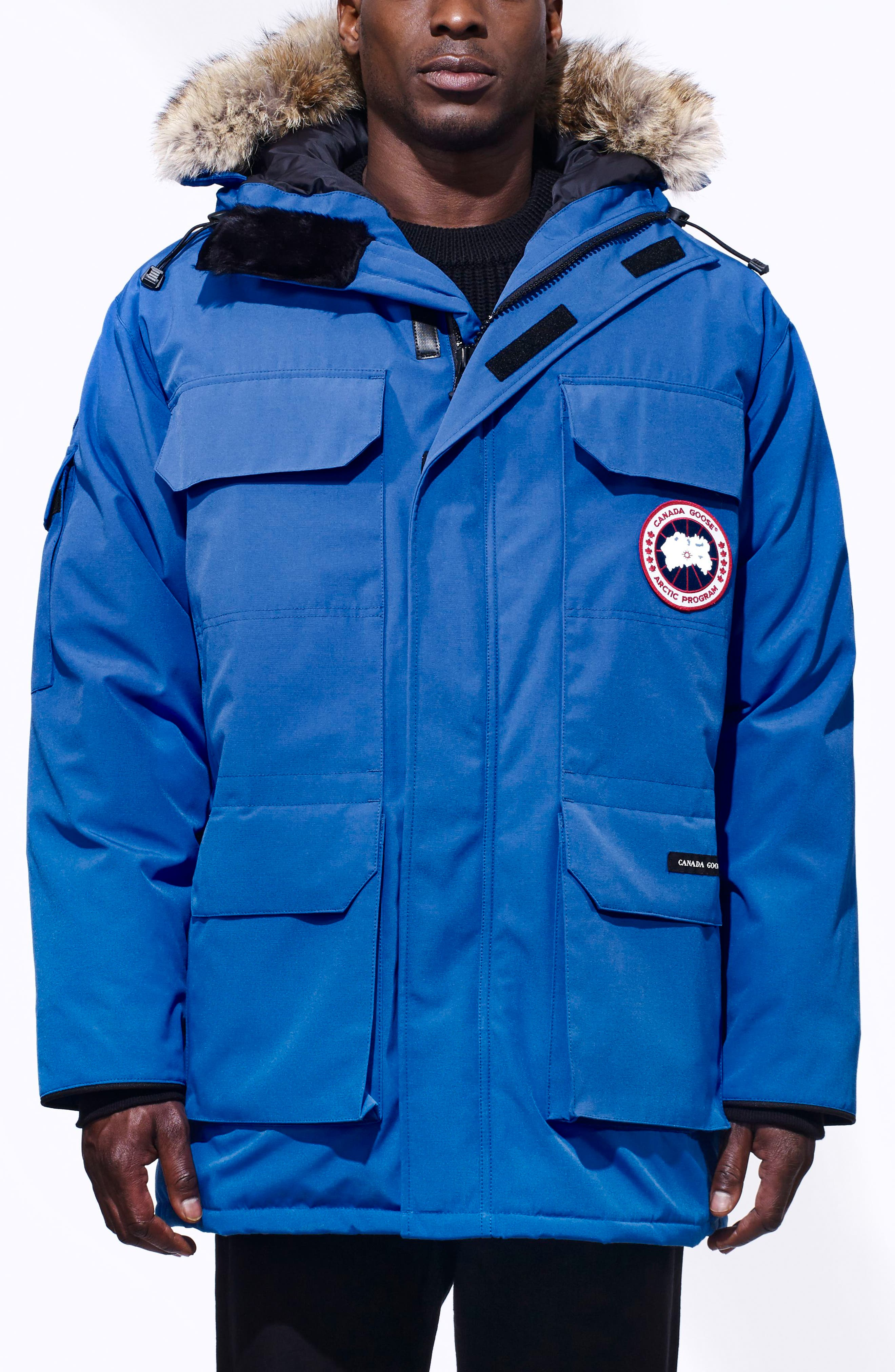 PBI Expedition Down Parka with Genuine Coyote Fur Trim,                         Main,                         color, ROYAL PBI BLUE