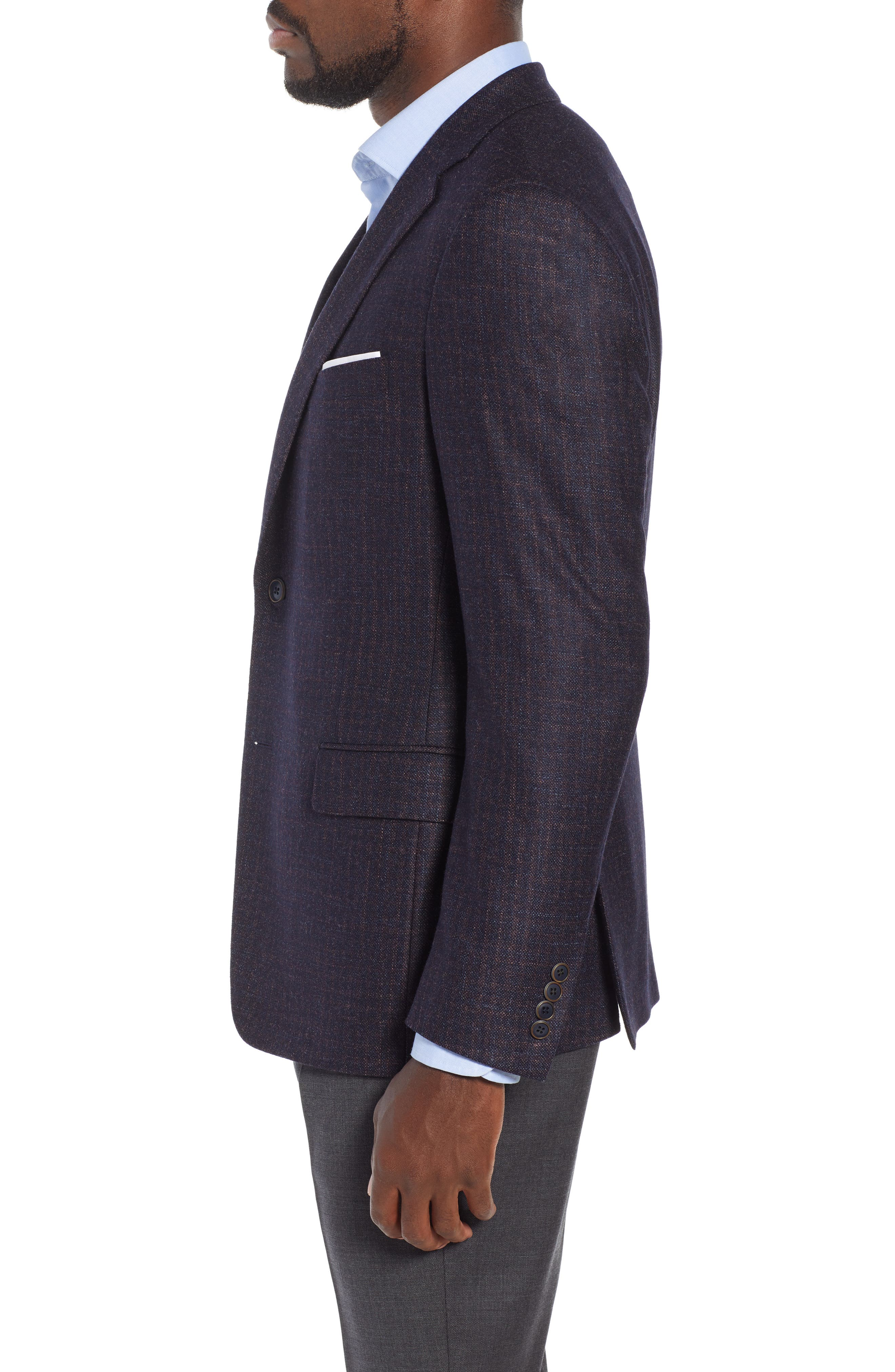 Classic Fit Wool Blazer,                             Alternate thumbnail 3, color,                             NAVY/ BERRY
