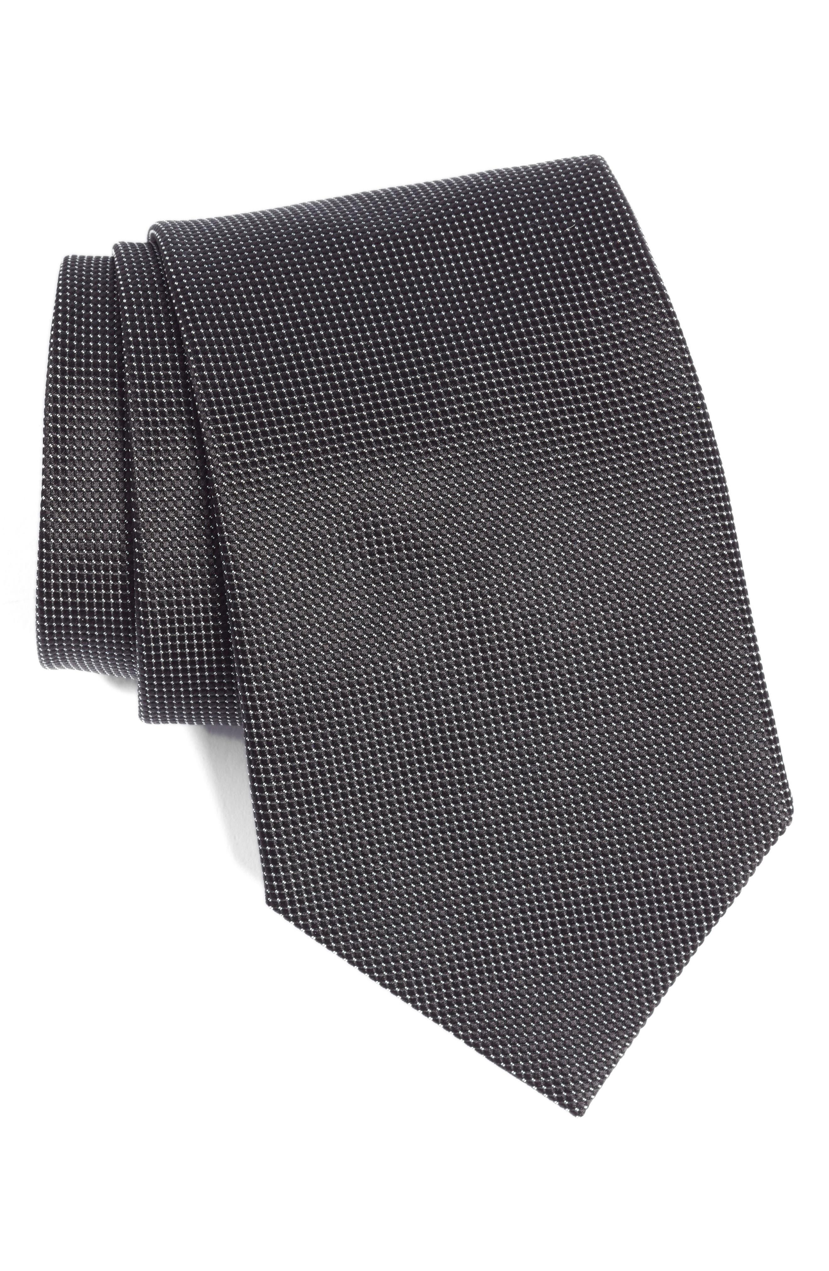 Solid Jacquard Silk Tie, Main, color, BLACK