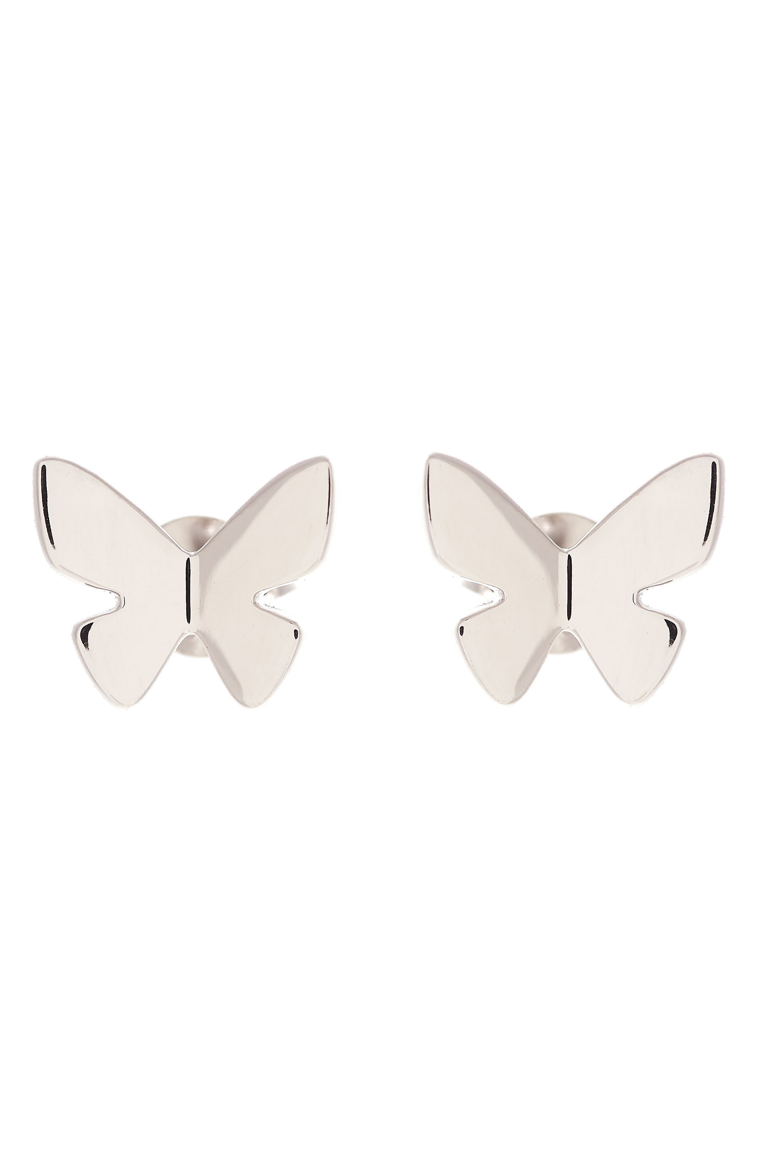 Social Butterfly Stud Earrings,                         Main,                         color, SILVER