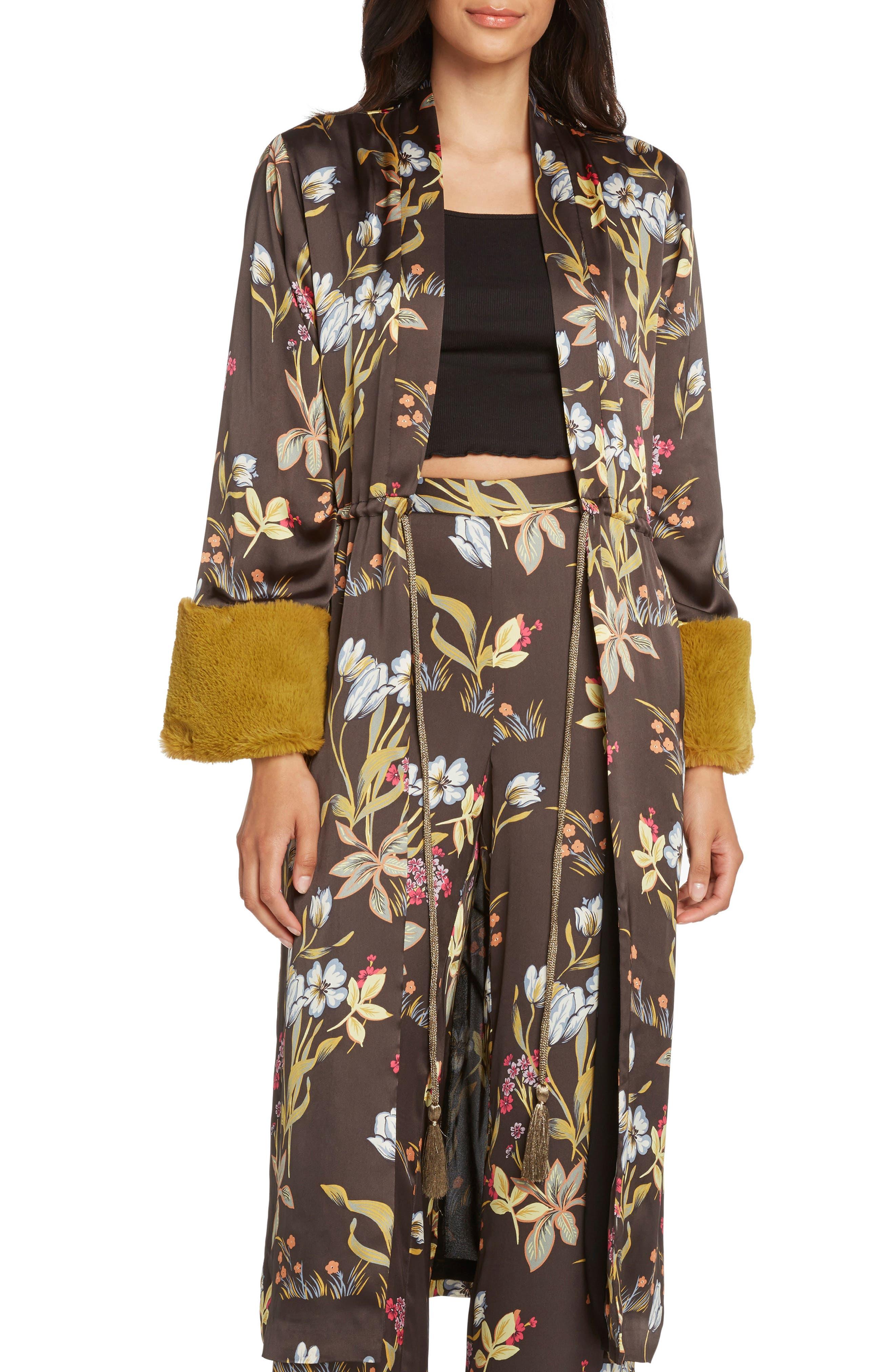 Print Kimono,                             Main thumbnail 1, color,                             BLACK