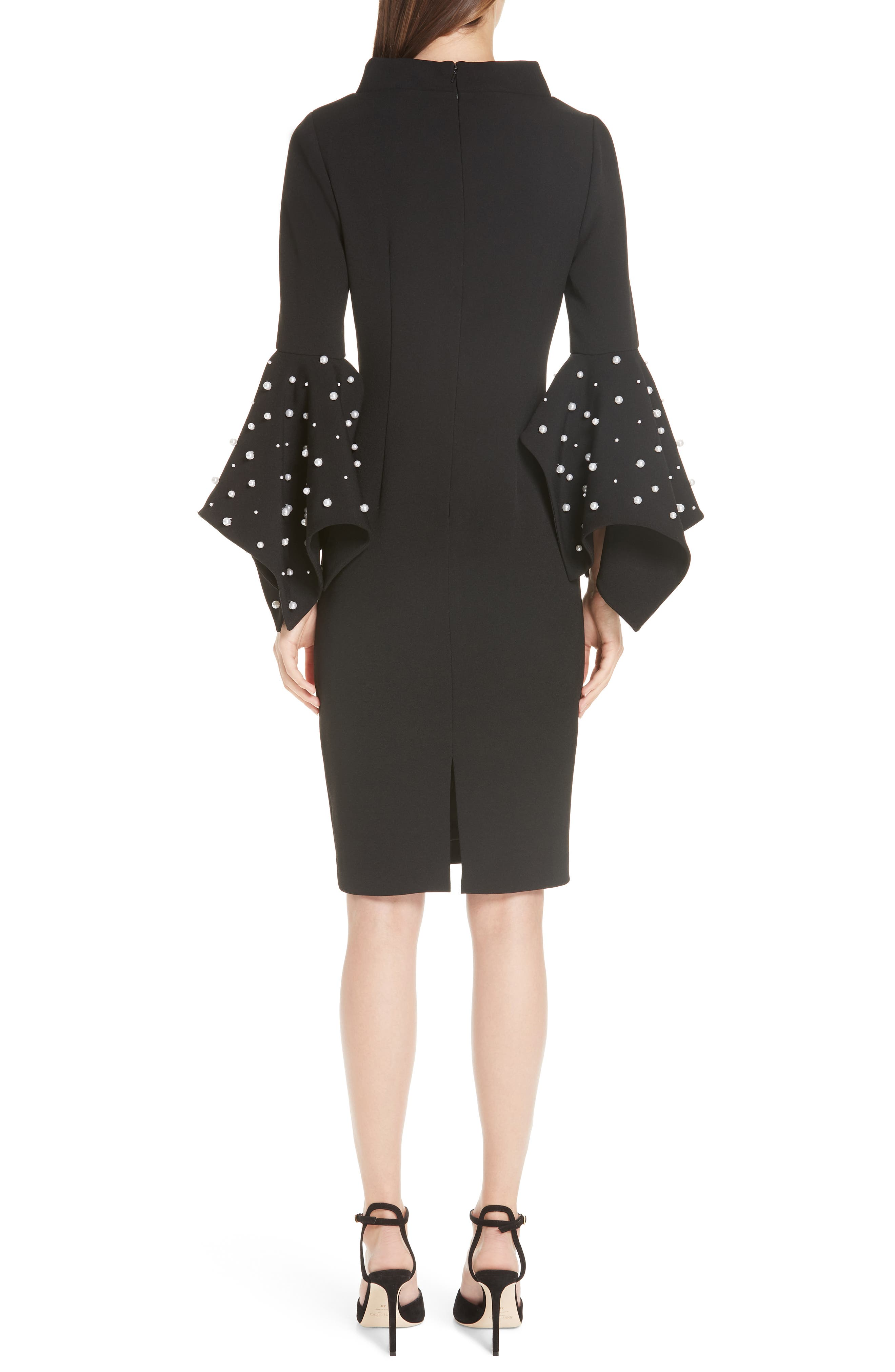 Beaded Flare Cuff Sheath Dress,                             Alternate thumbnail 2, color,                             001