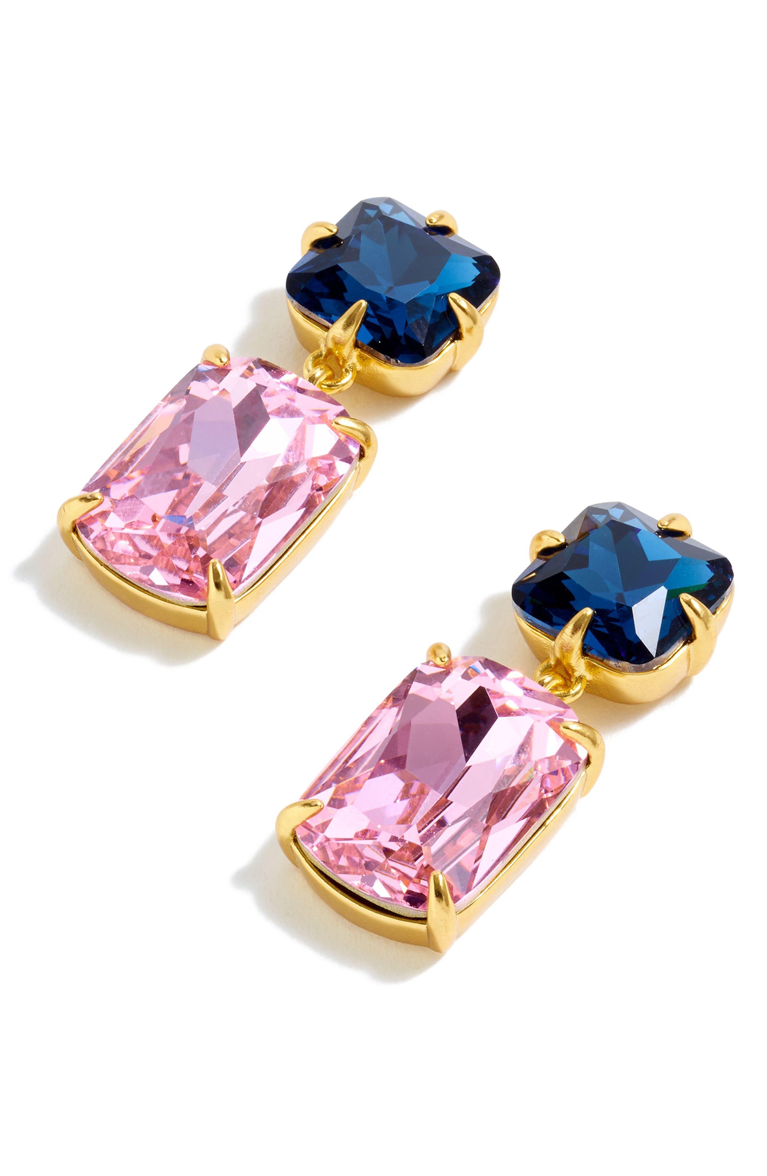 Rectangle Stone Drop Earrings,                             Alternate thumbnail 3, color,                             650