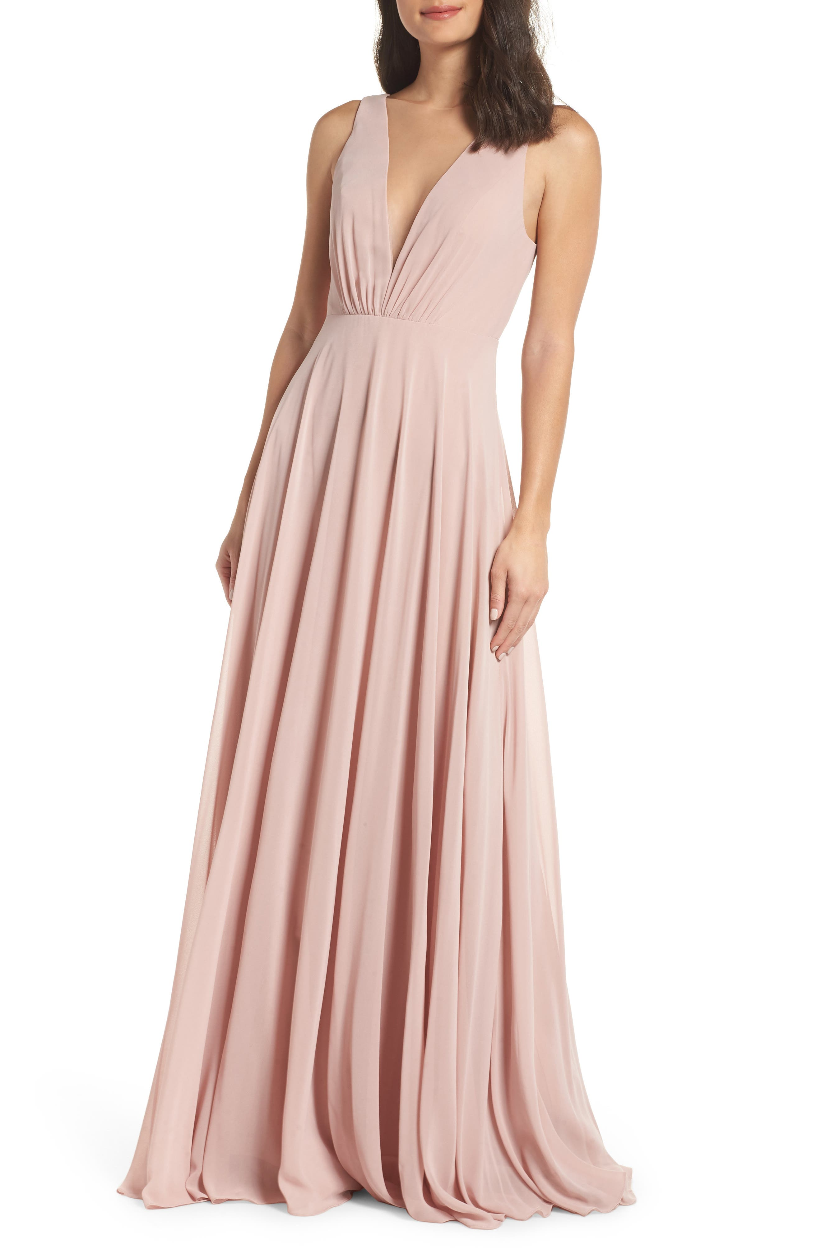 Jenny Yoo Ryan Illusion Neck Chiffon Gown, Pink