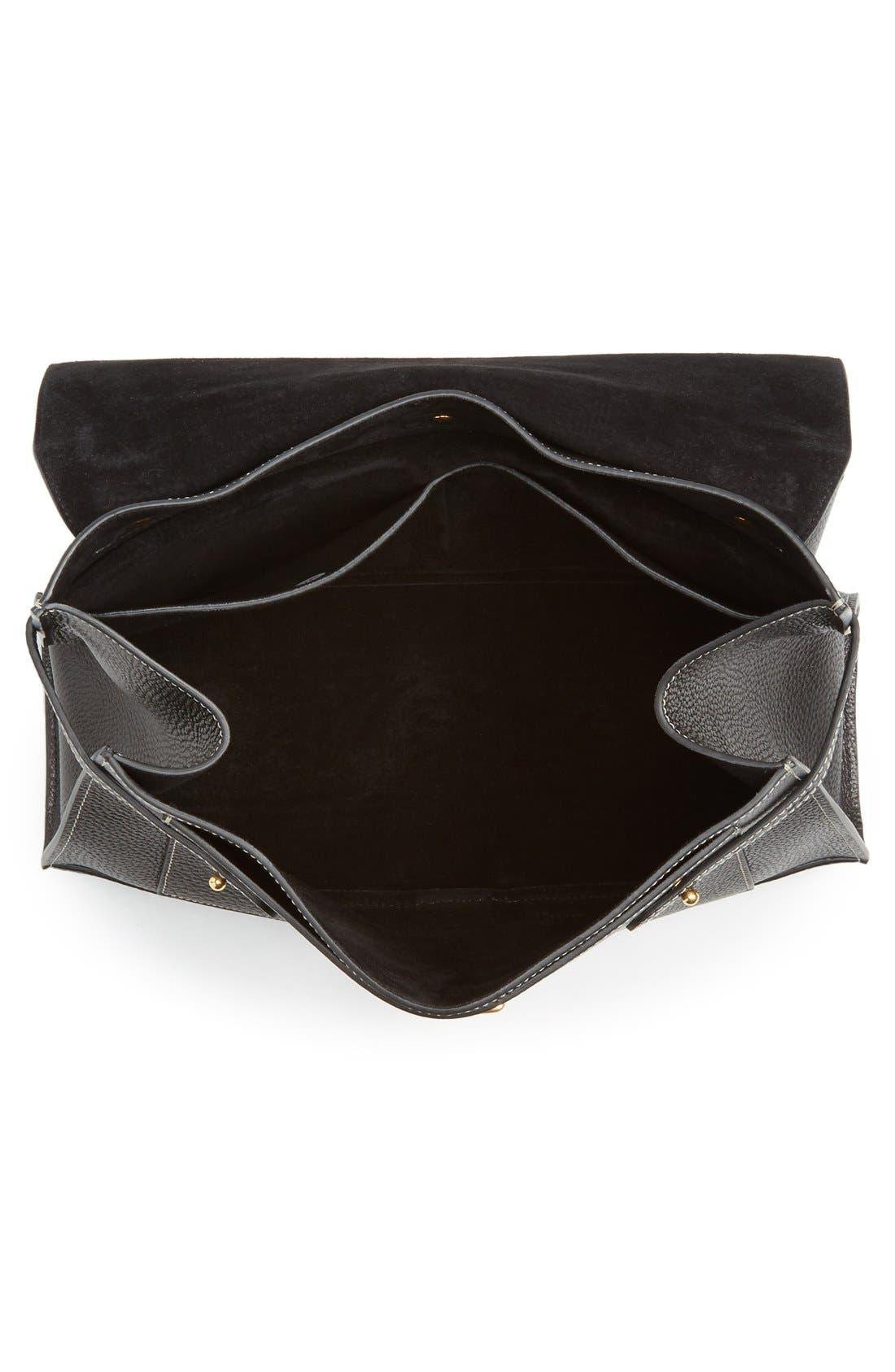 'Small Buckle' Leather Shoulder Bag,                             Alternate thumbnail 4, color,                             001