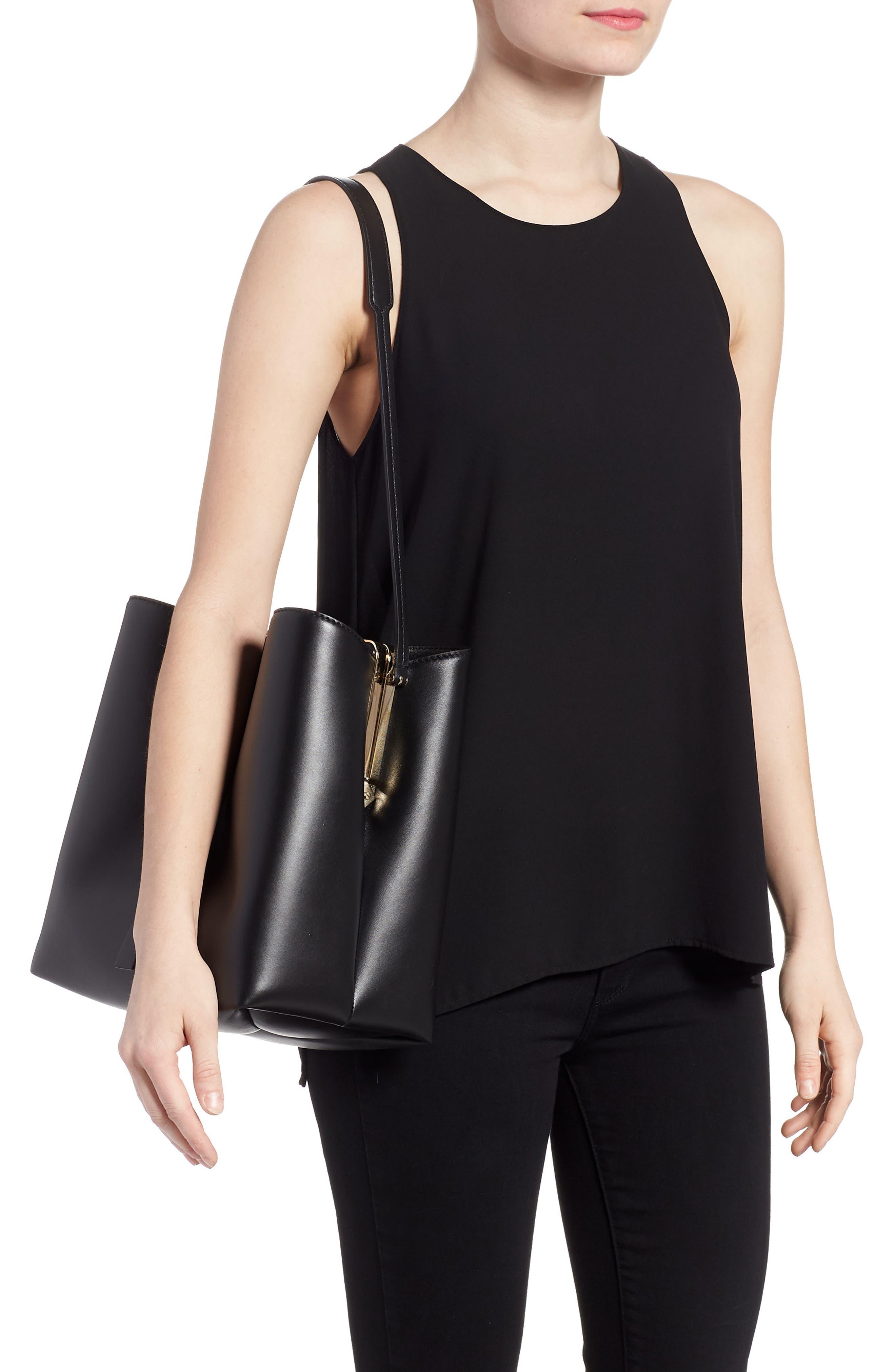 Frame Leather Shoulder Bag,                             Alternate thumbnail 2, color,                             BLACK/ BLACK