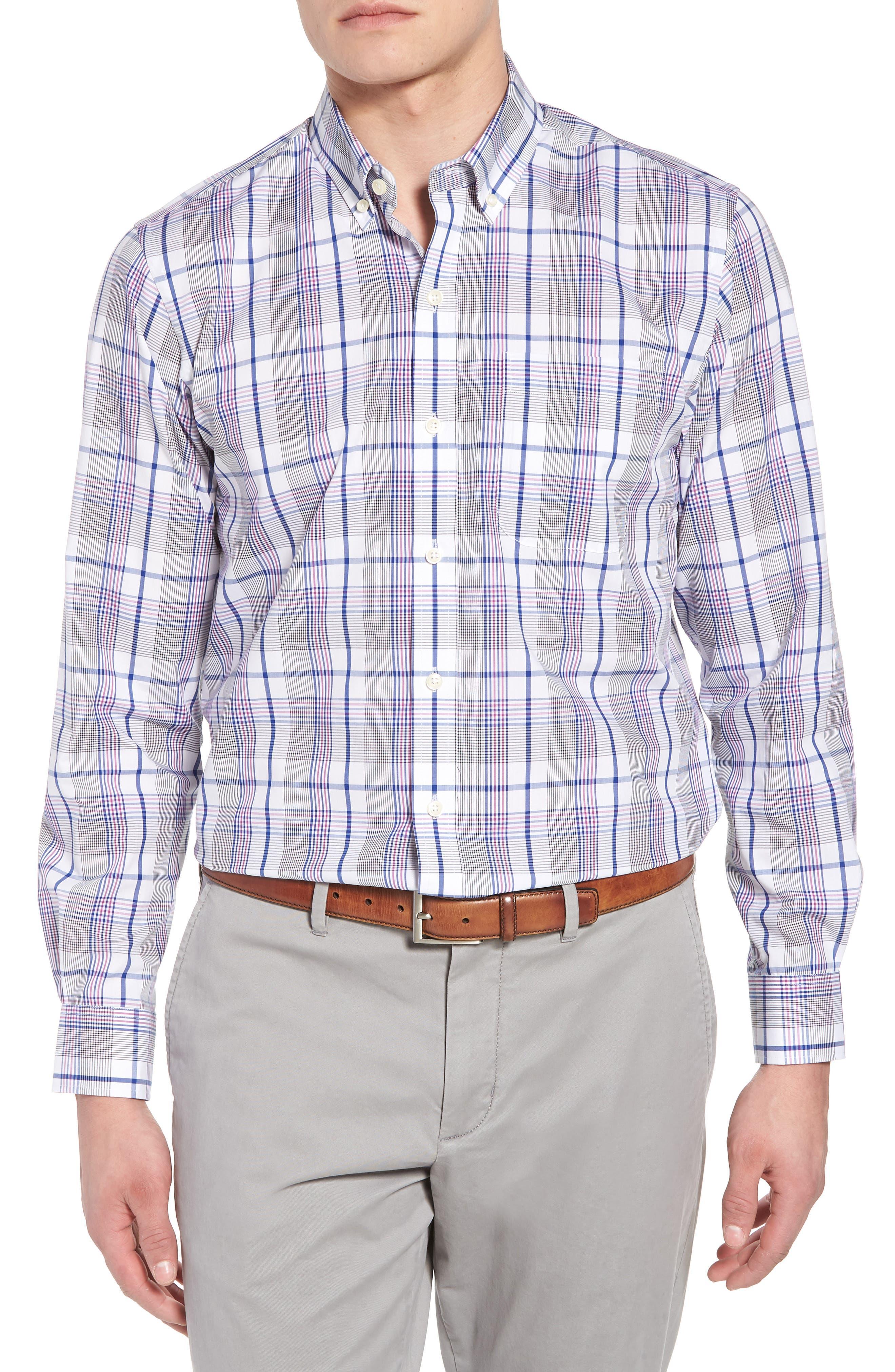 Aidan Non-Iron Plaid Sport Shirt,                         Main,                         color, 419