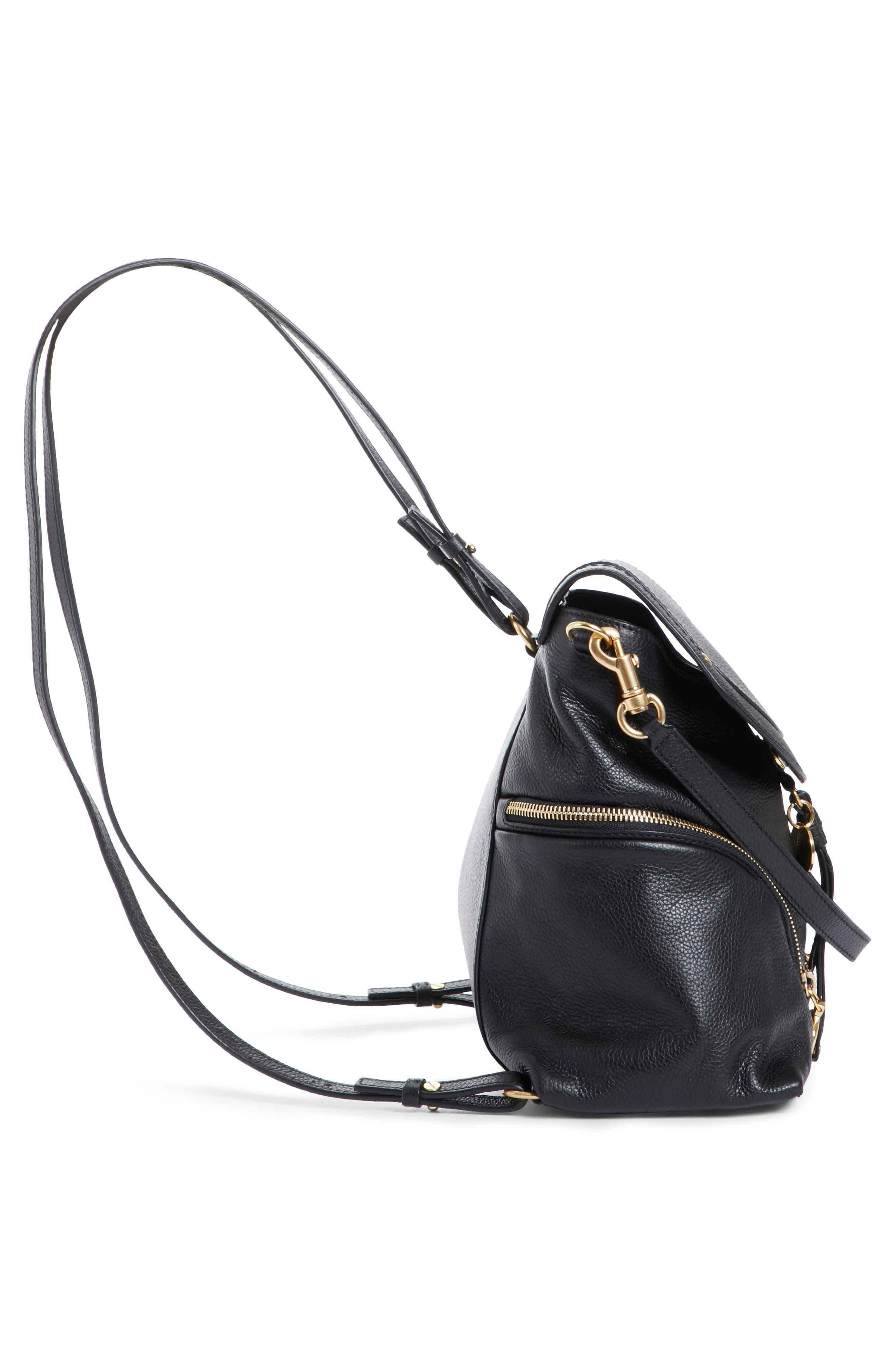 Olga Large Leather Backpack,                             Alternate thumbnail 5, color,                             001