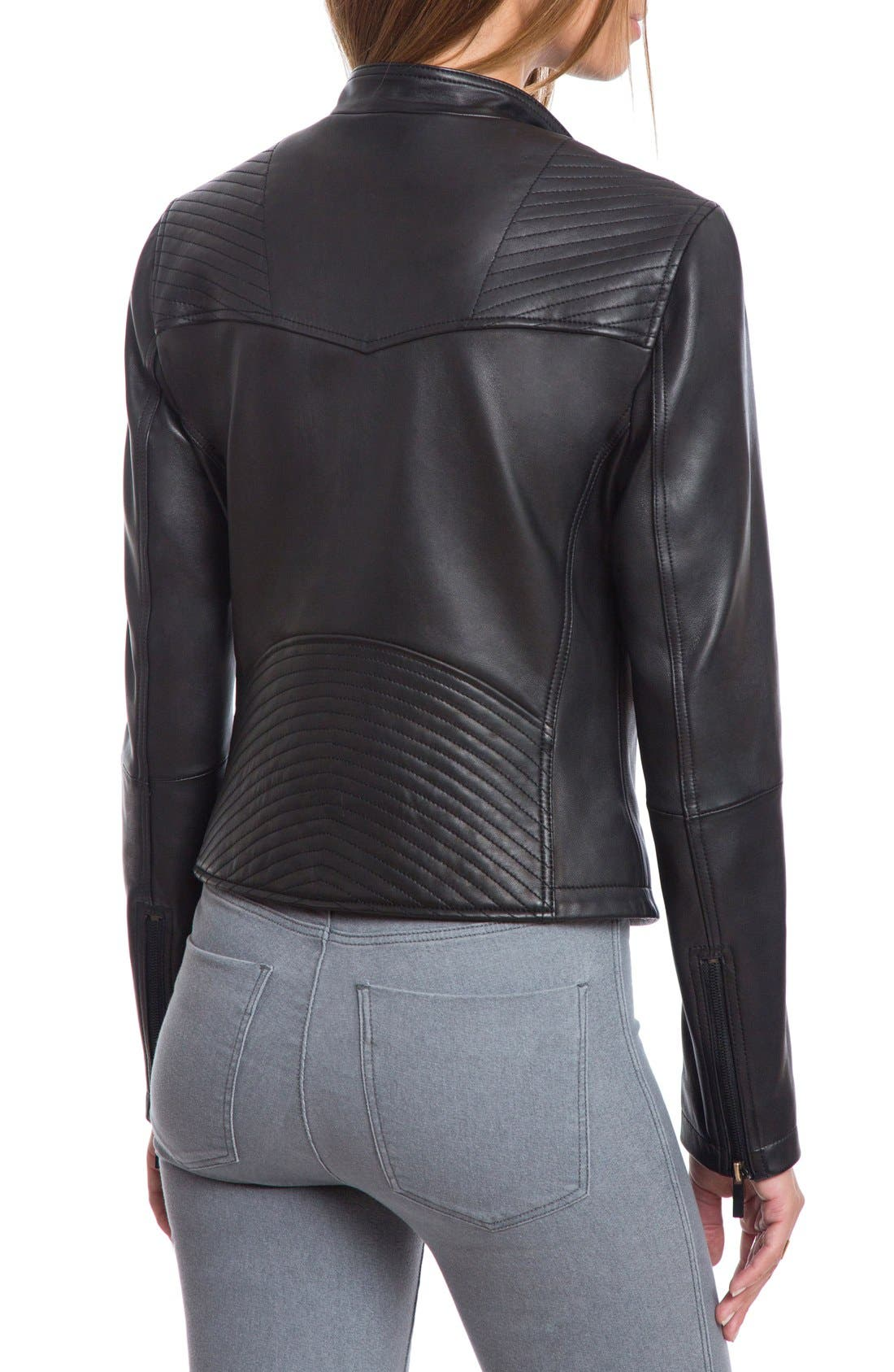 Bagatelle Quilted Lambskin Leather Moto Jacket,                             Alternate thumbnail 11, color,