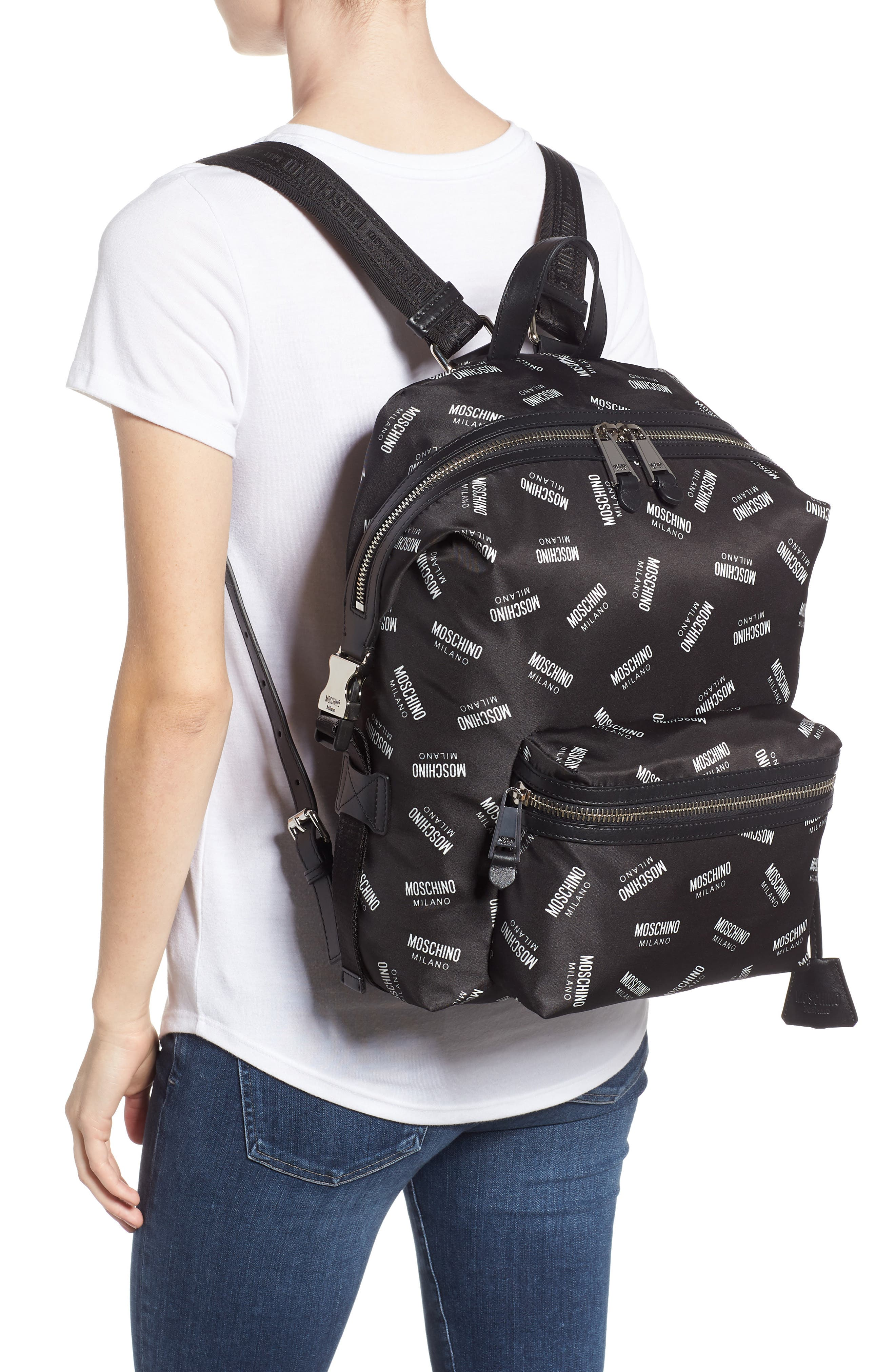 MOSCHINO,                             Allover Logo Print Backpack,                             Alternate thumbnail 2, color,                             BLACK