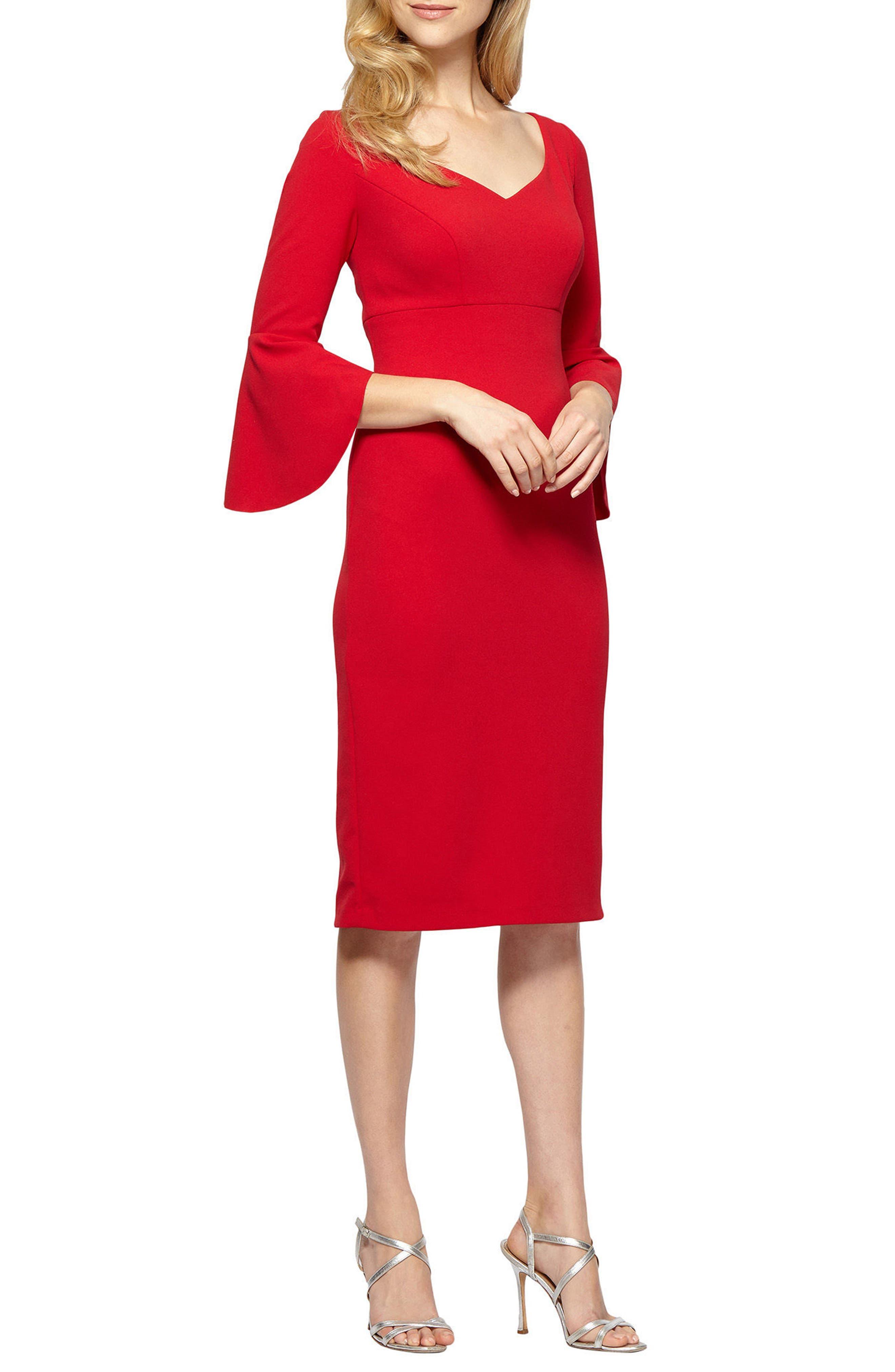 Bell Sleeve Sheath Dress,                         Main,                         color, APPLE RED