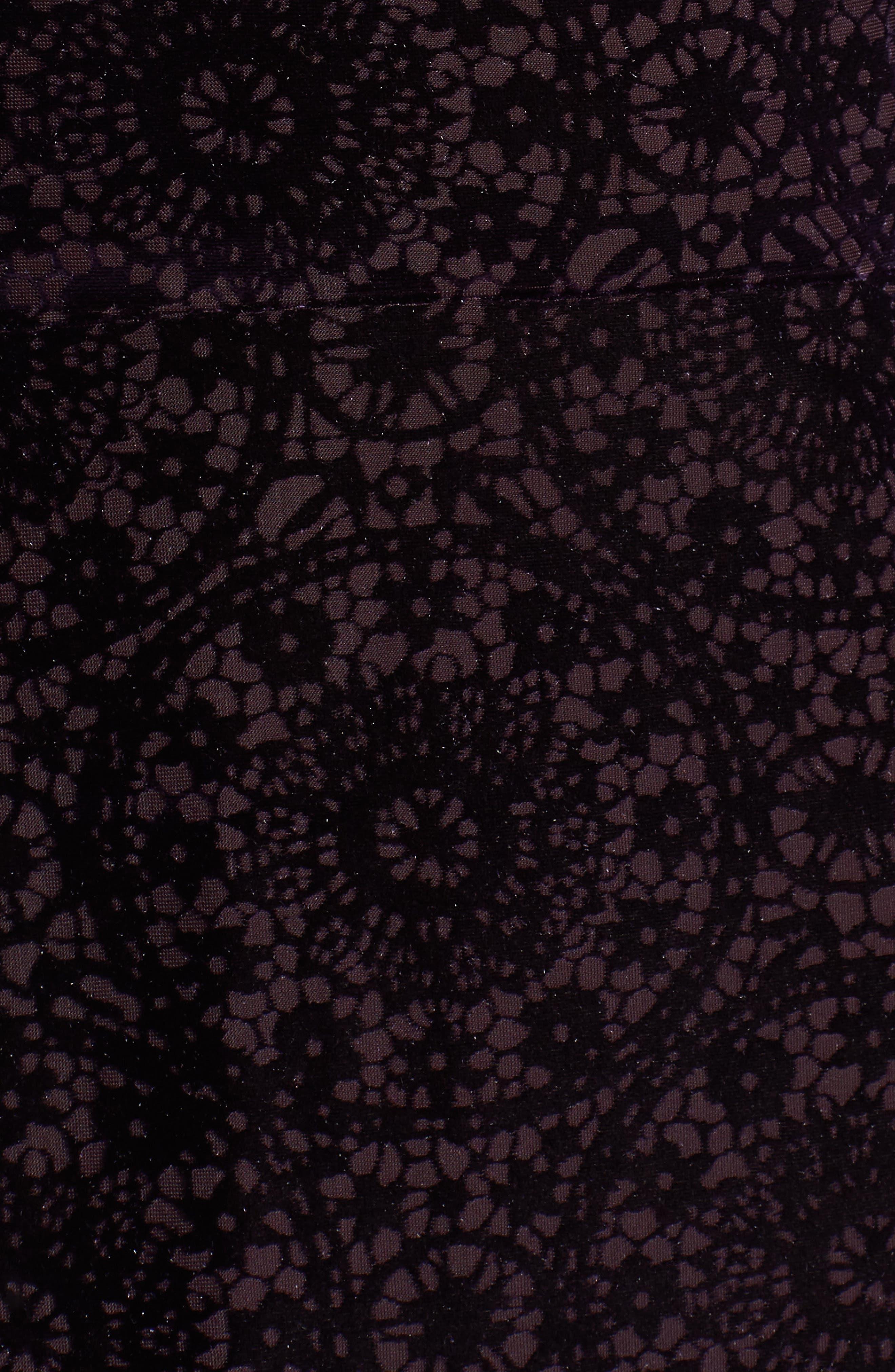Velvet Burnout Bell Sleeve Dress,                             Alternate thumbnail 5, color,                             501