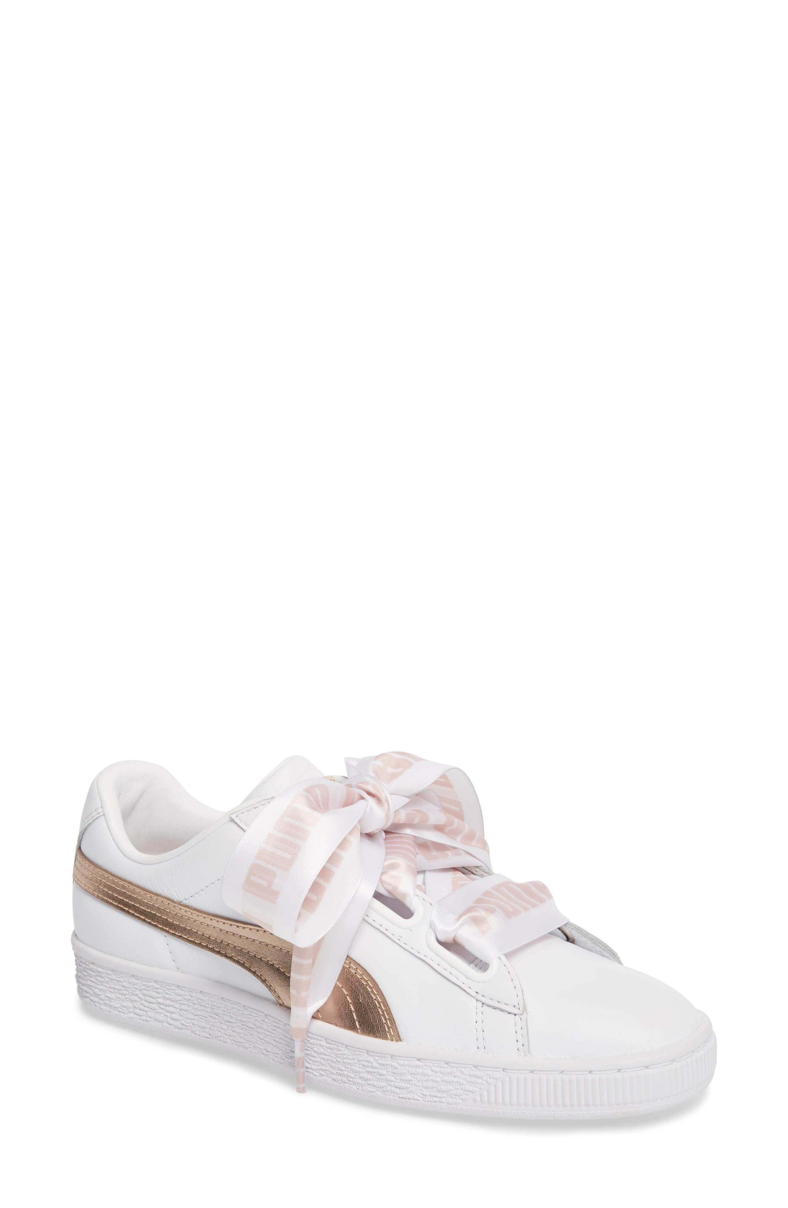 Basket Heart Sneaker,                             Main thumbnail 1, color,                             WHITE/ ROSE GOLD LEATHER