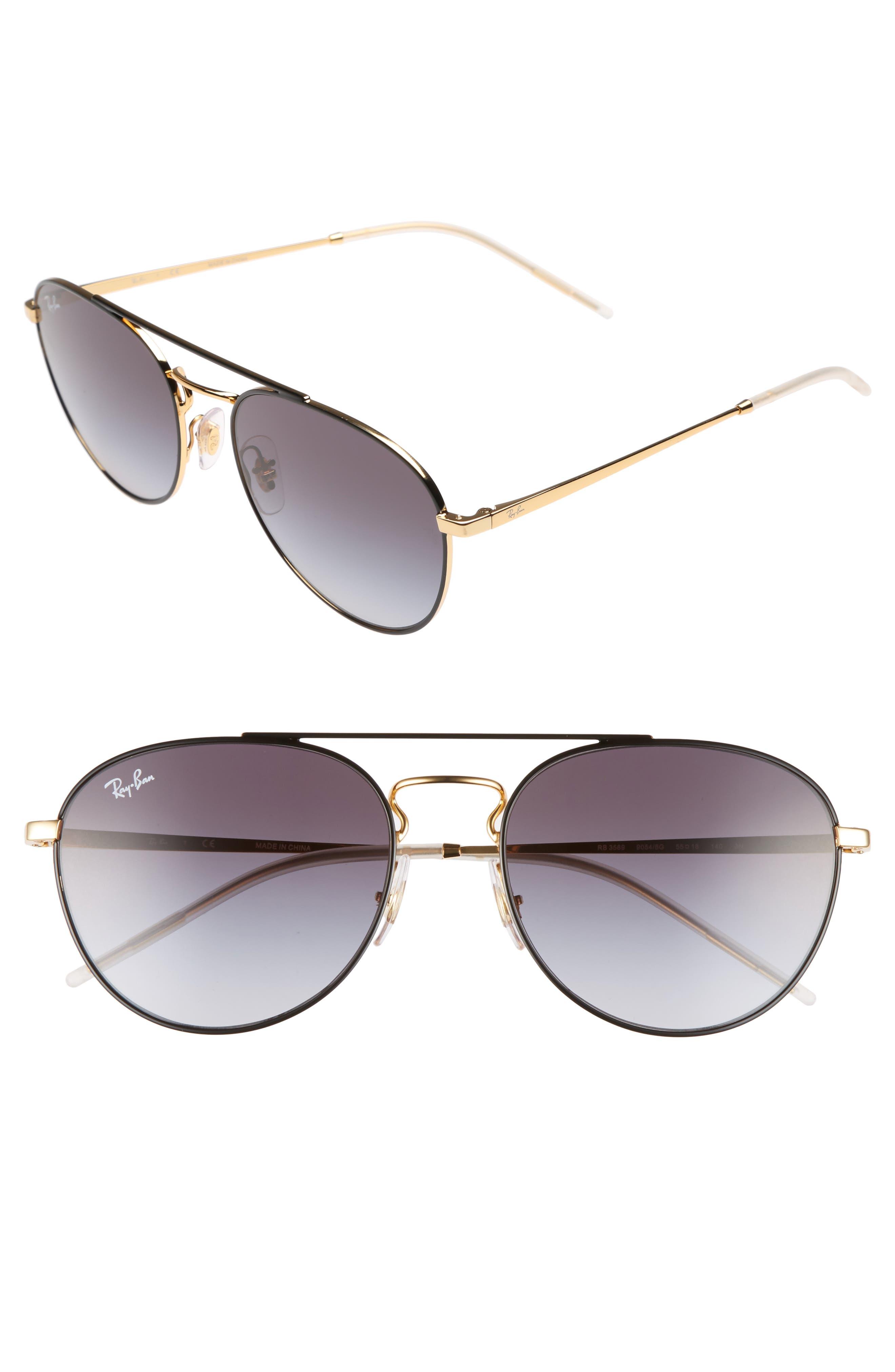 55mm Gradient Lens Round Aviator Sunglasses,                             Alternate thumbnail 2, color,                             001