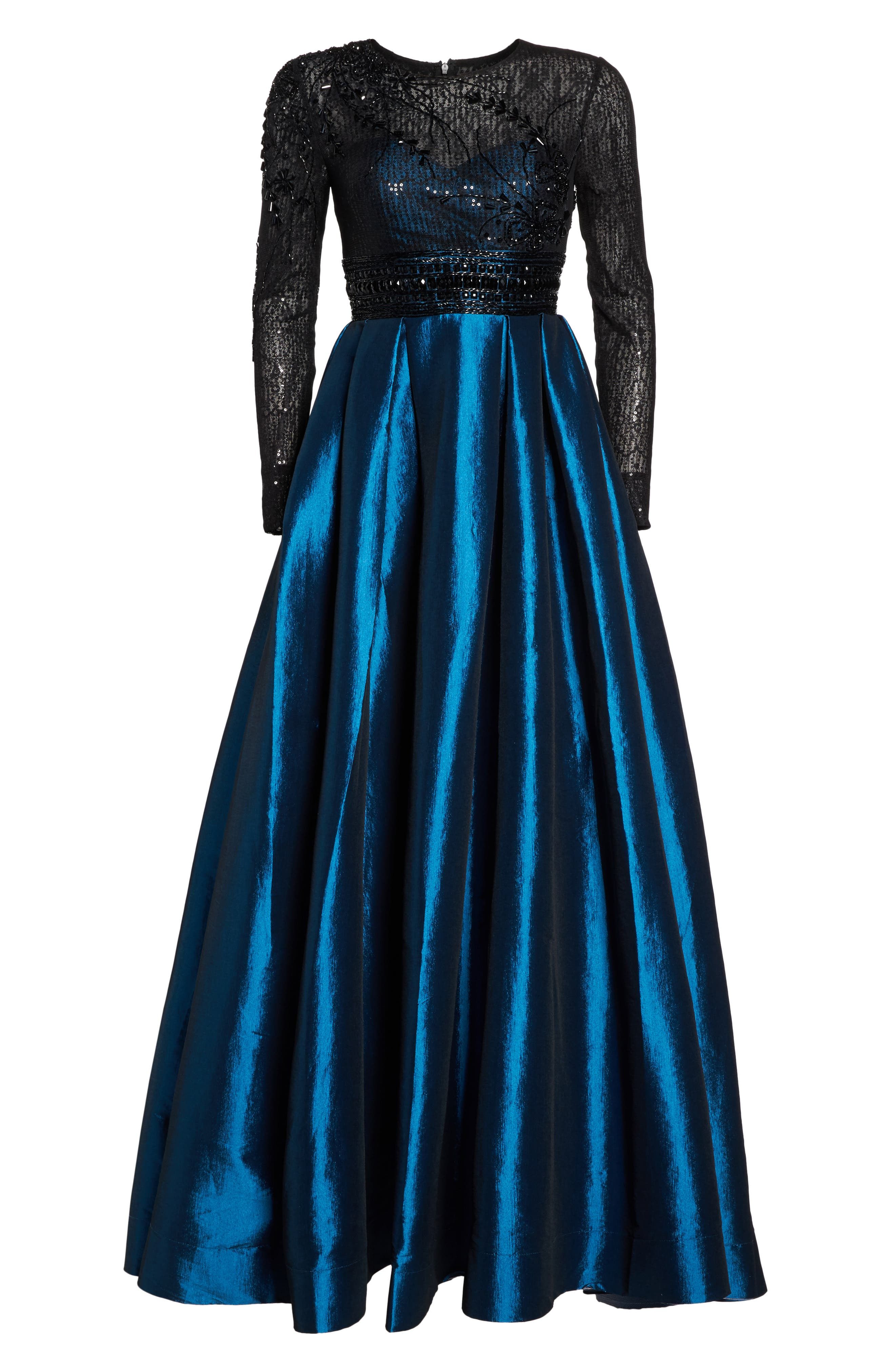 Belted Mock Neck Sheath Gown,                             Alternate thumbnail 6, color,                             001