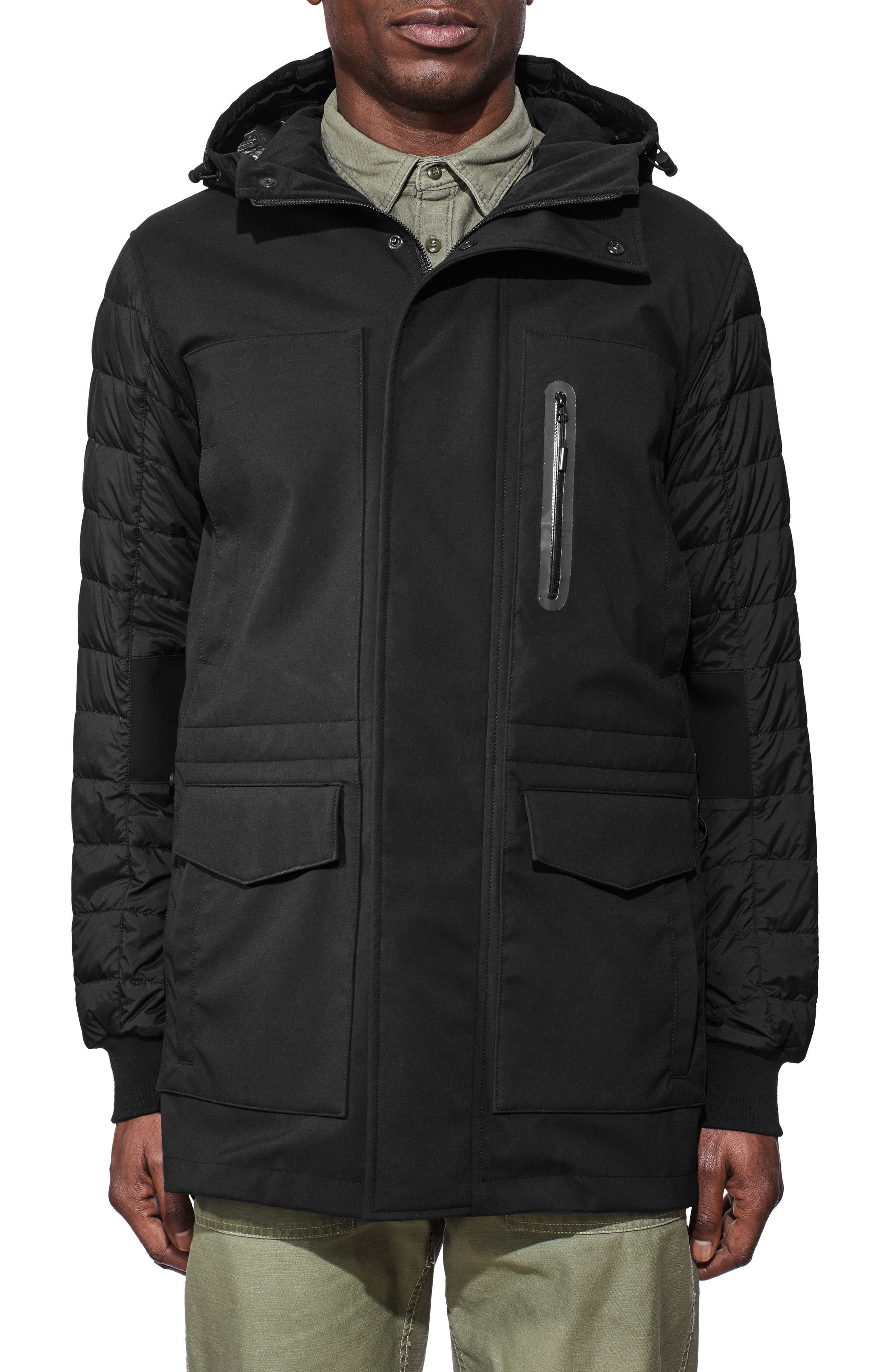 Selwyn Down Filled Coat,                             Main thumbnail 1, color,                             BLACK/ BLACK