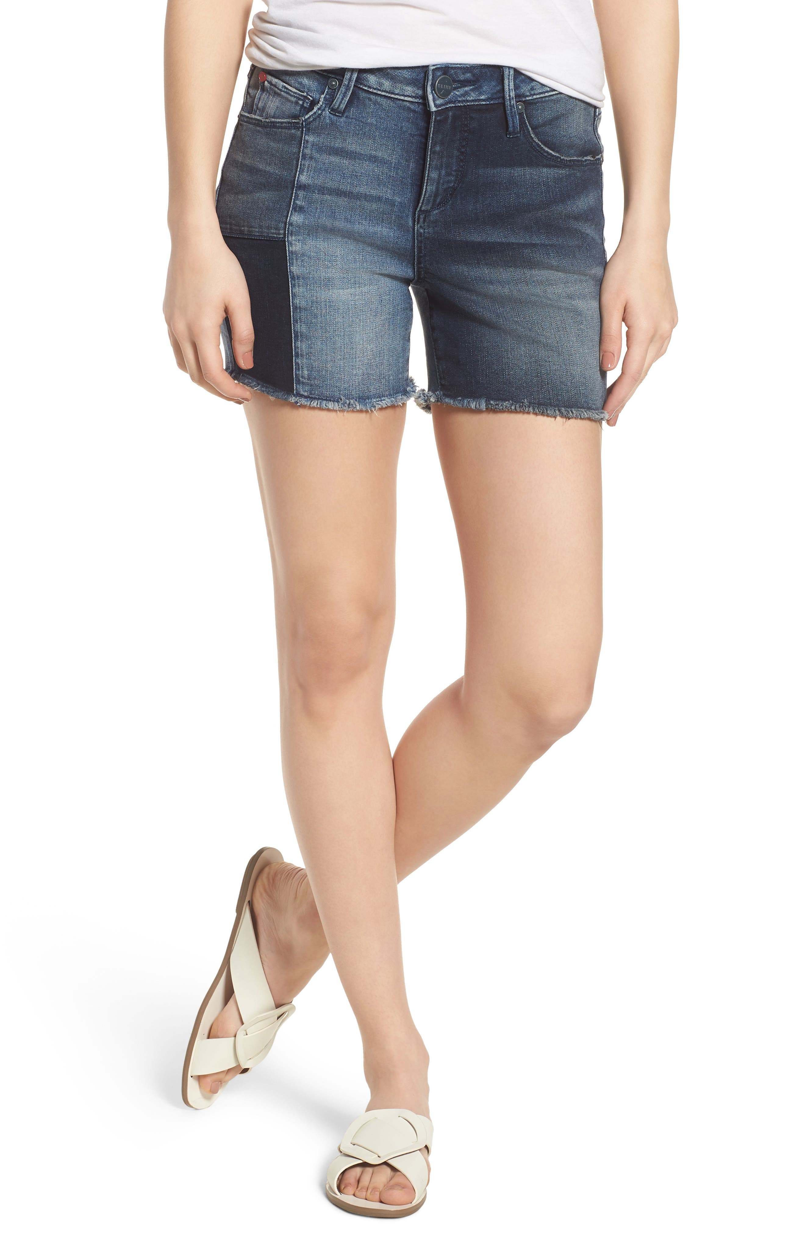 Patchwork Denim Shorts,                         Main,                         color, VANESSA