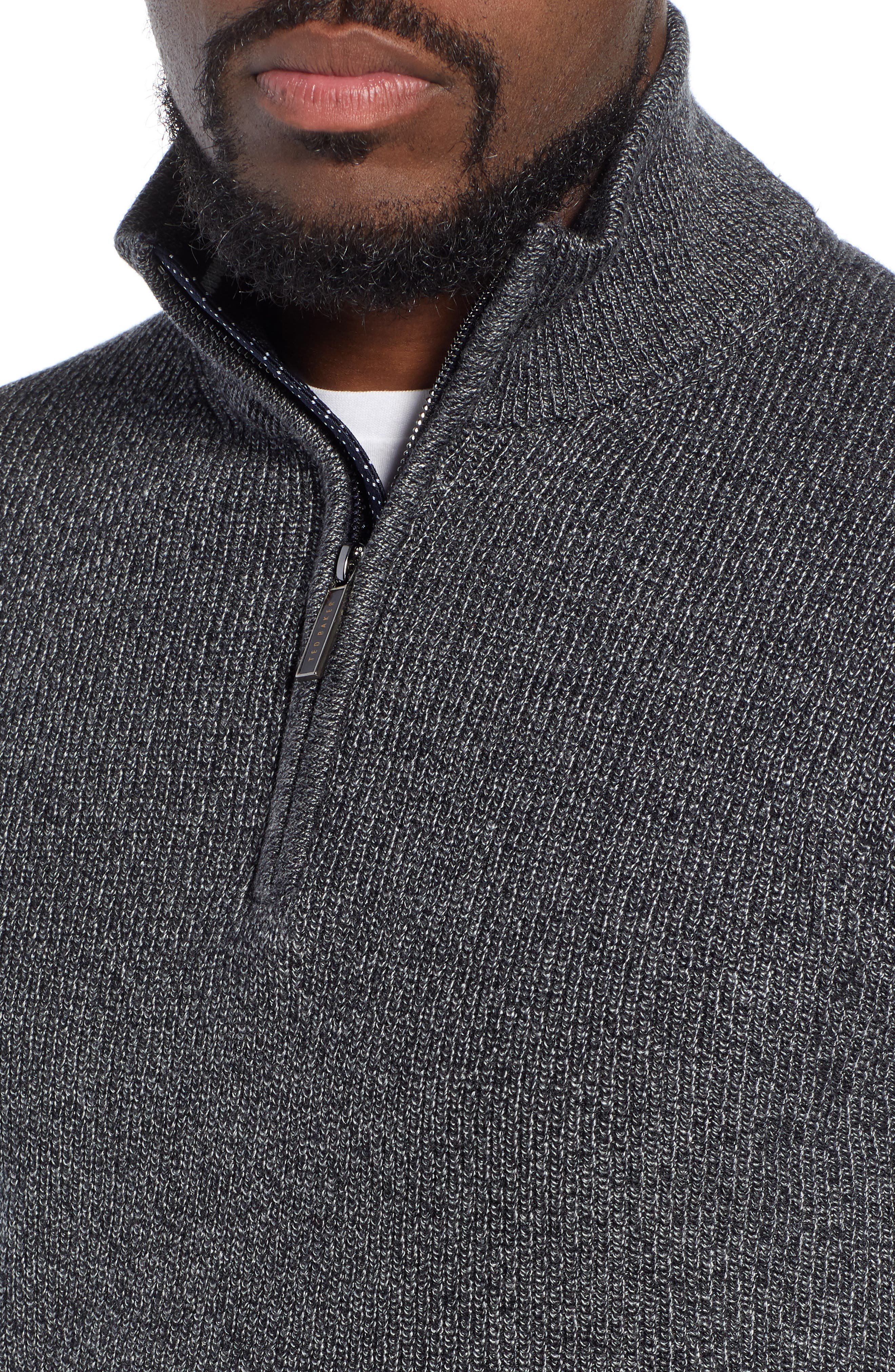 Lohas Slim Fit Funnel Neck Sweater,                             Alternate thumbnail 4, color,                             CHARCOAL