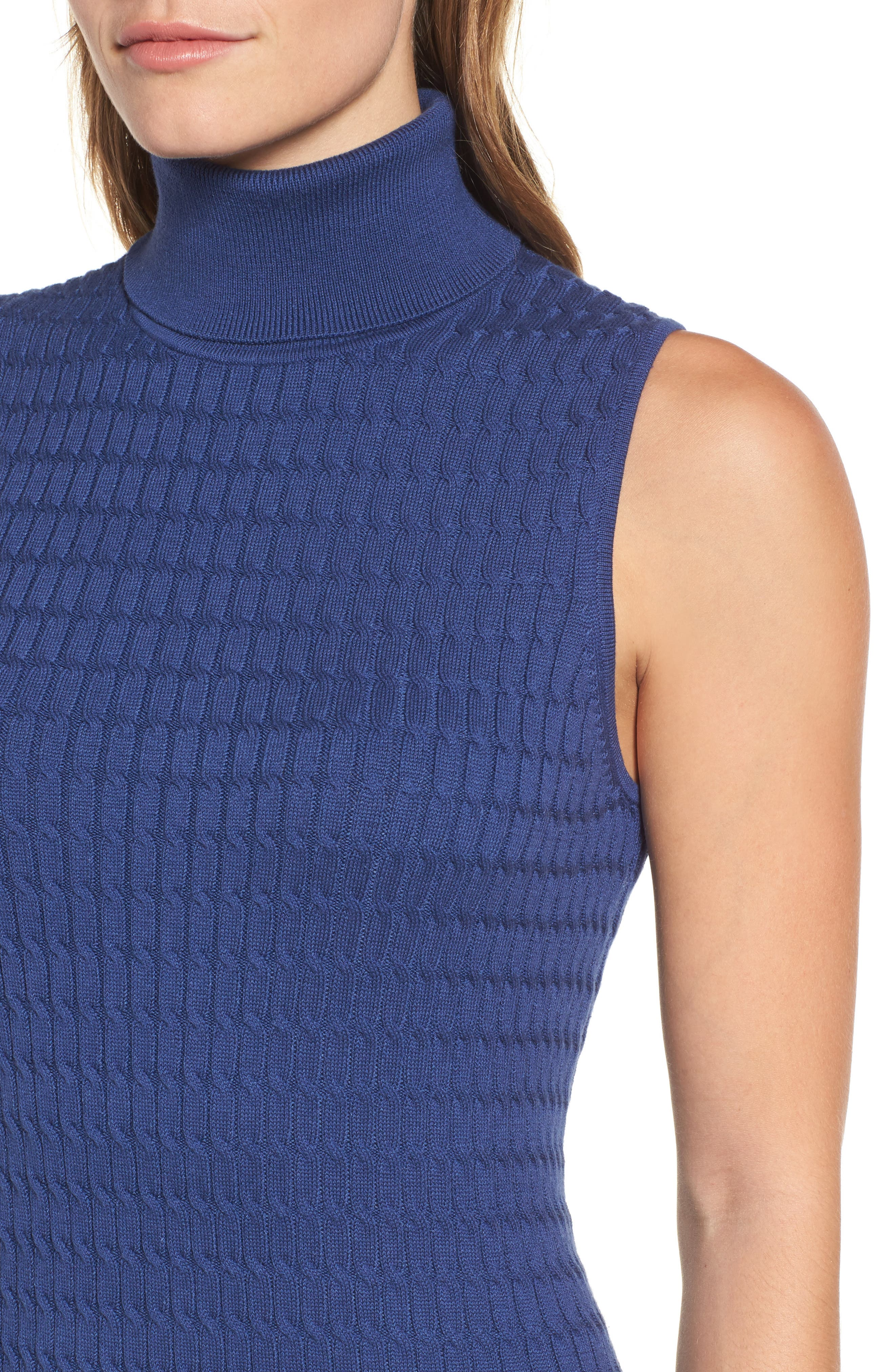 Sleeveless Turtleneck Dress,                             Alternate thumbnail 4, color,                             ECLIPSE