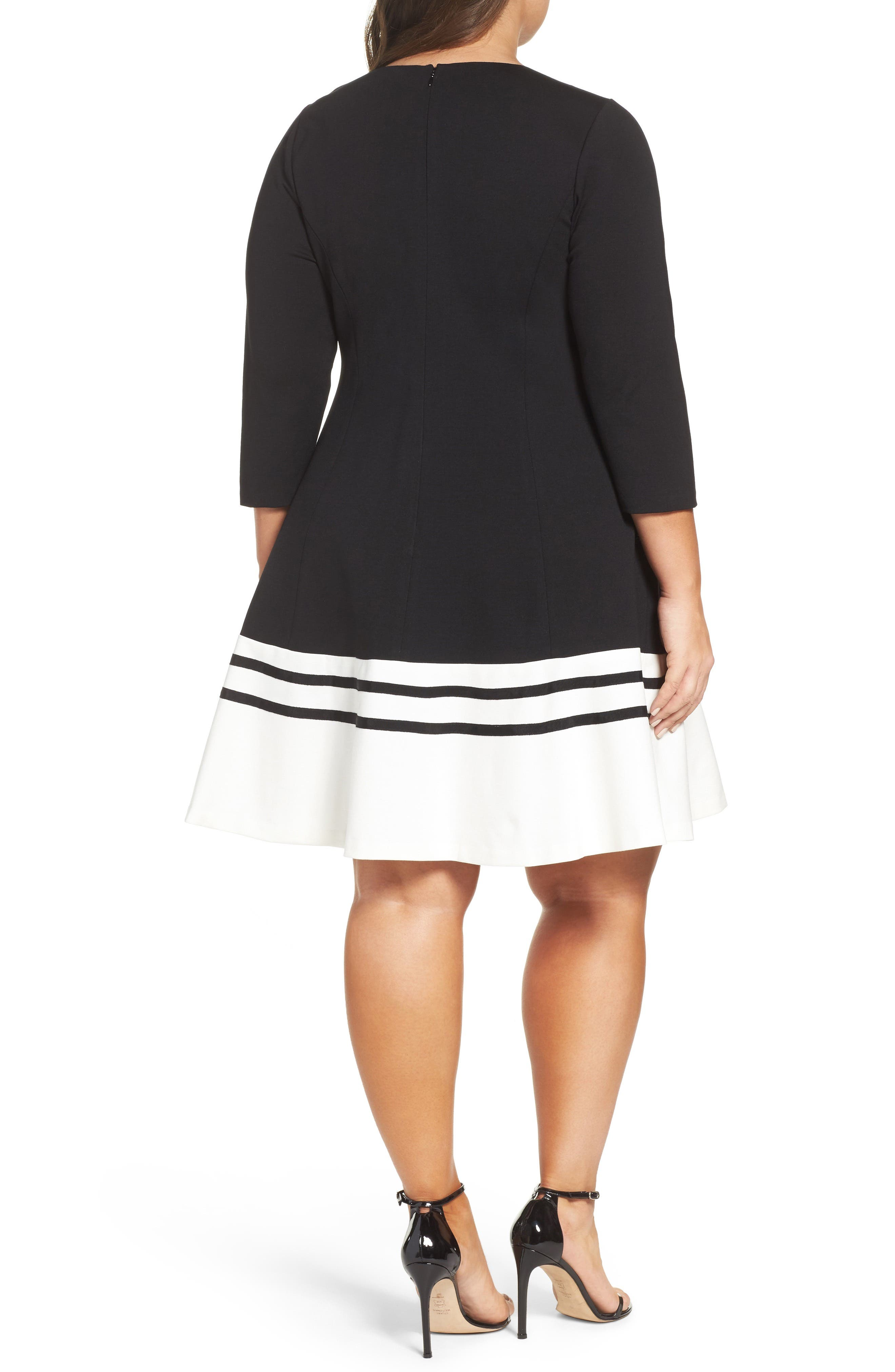 Ponte Fit & Flare Dress,                             Alternate thumbnail 2, color,                             BLACK/ IVORY