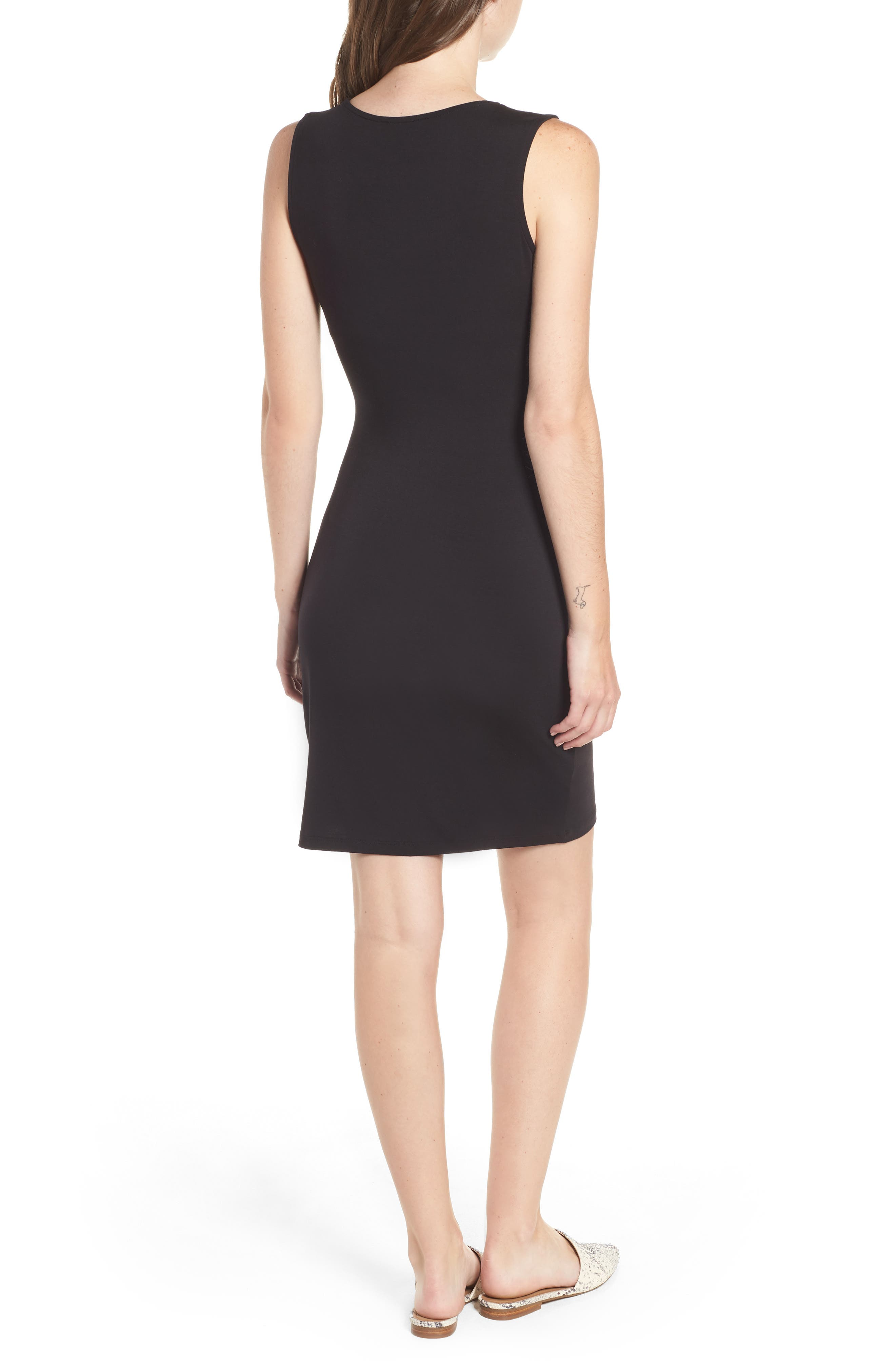 Tie Waist Body-Con Dress,                             Alternate thumbnail 2, color,                             BLACK