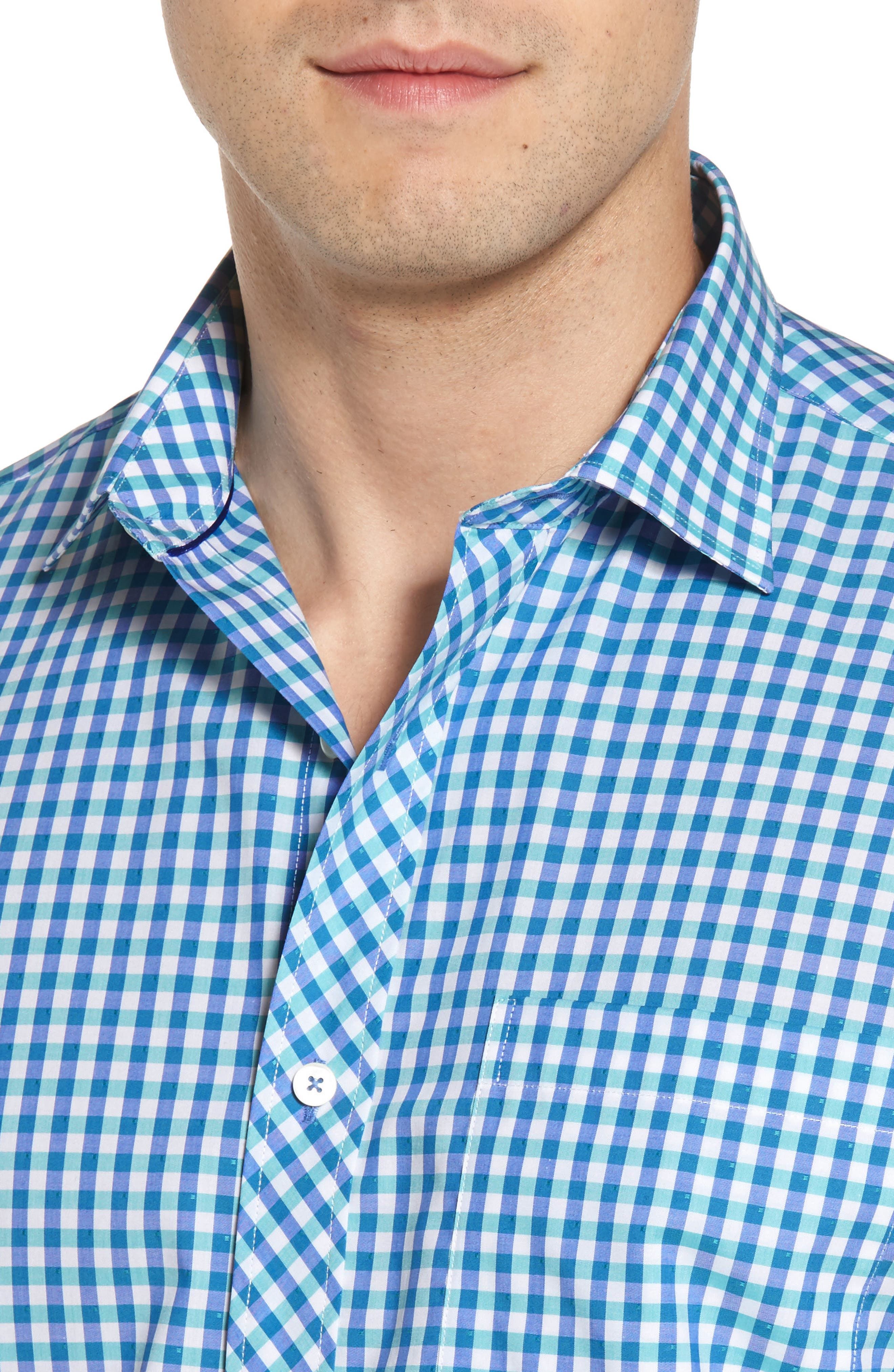 Classic Fit Check Sport Shirt,                             Alternate thumbnail 4, color,                             420