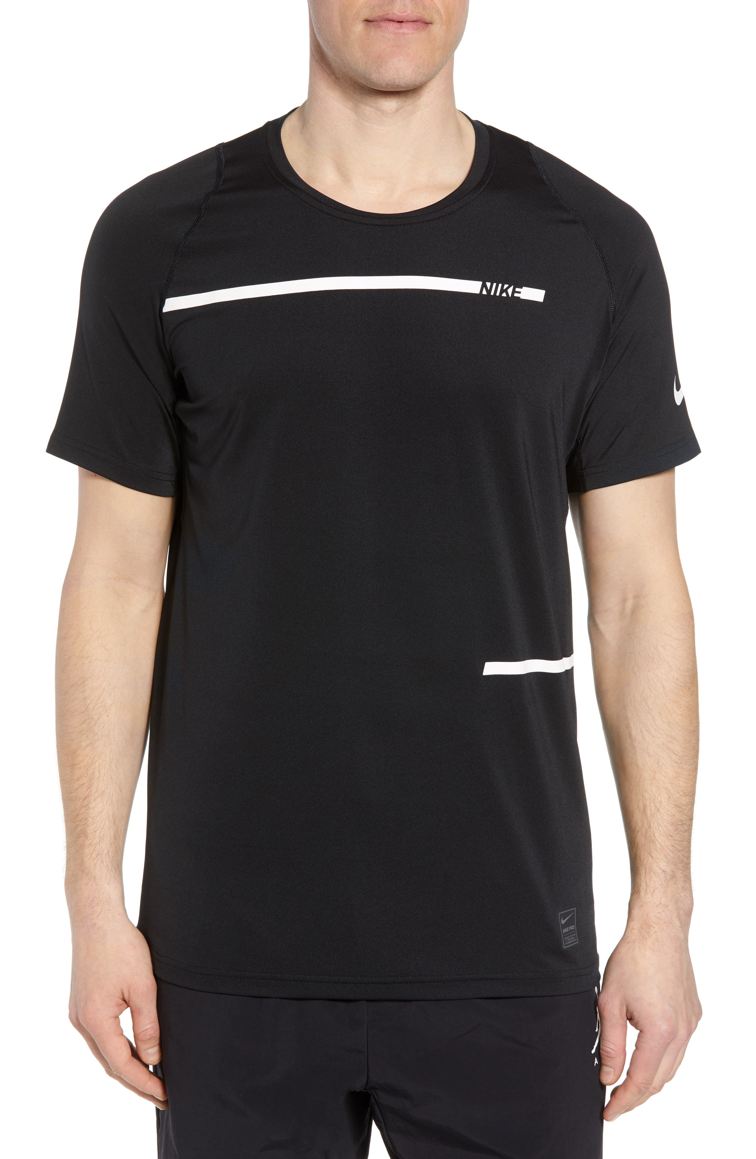 Pro Dry Logo T-Shirt,                             Main thumbnail 1, color,                             BLACK/ DARK GREY/ WHITE