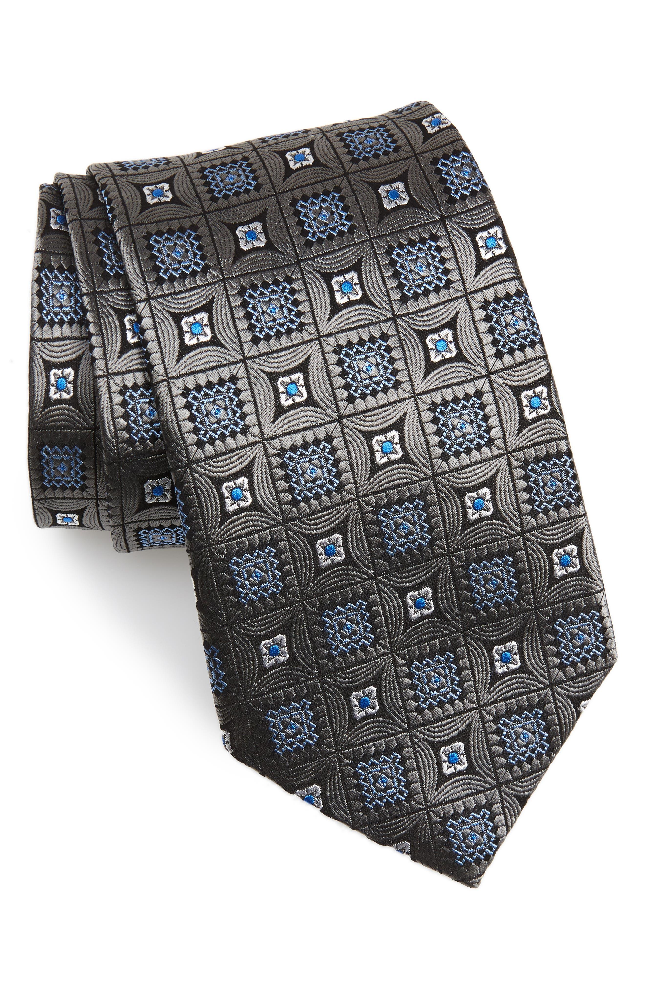 DAVID DONAHUE,                             Medallion Silk X-Long Tie,                             Main thumbnail 1, color,                             CHARCOAL