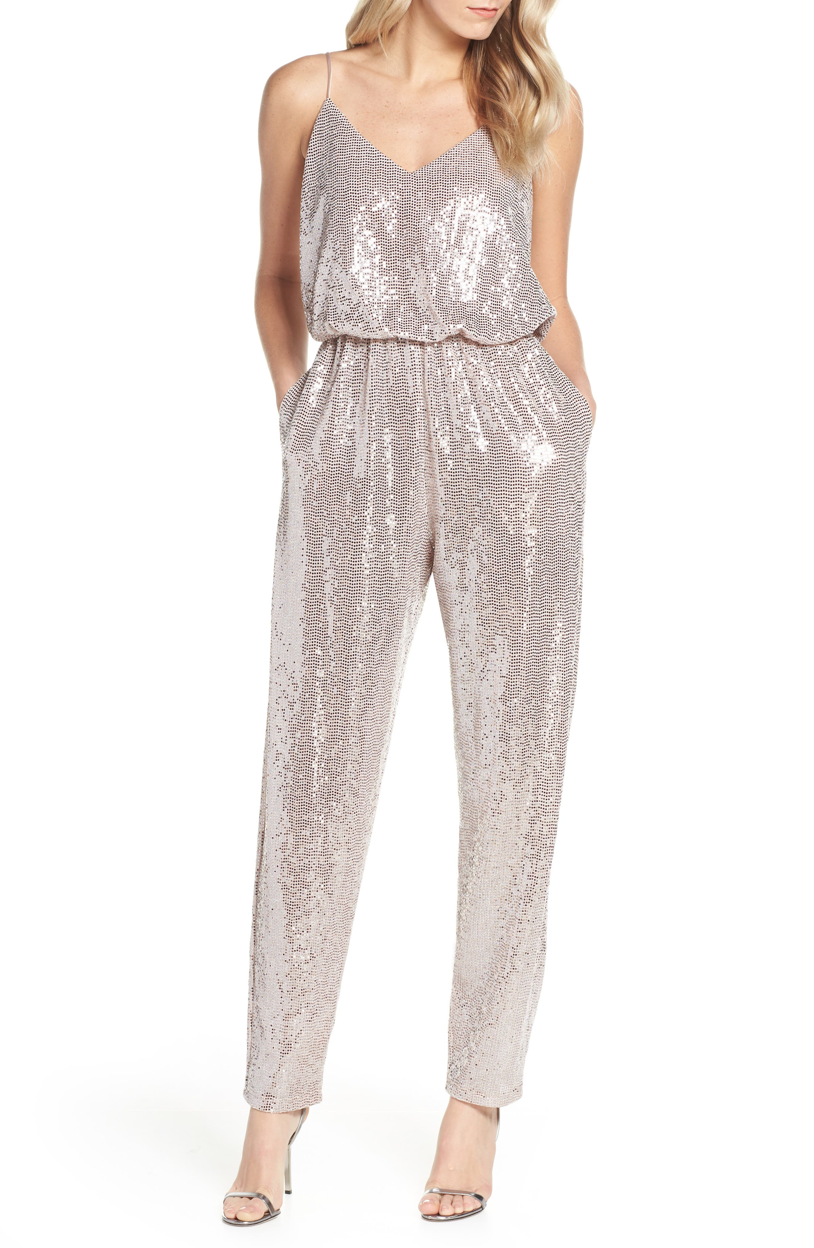 70s Prom, Formal, Evening, Party Dresses Womens Eliza J Sequin Jumpsuit $148.00 AT vintagedancer.com