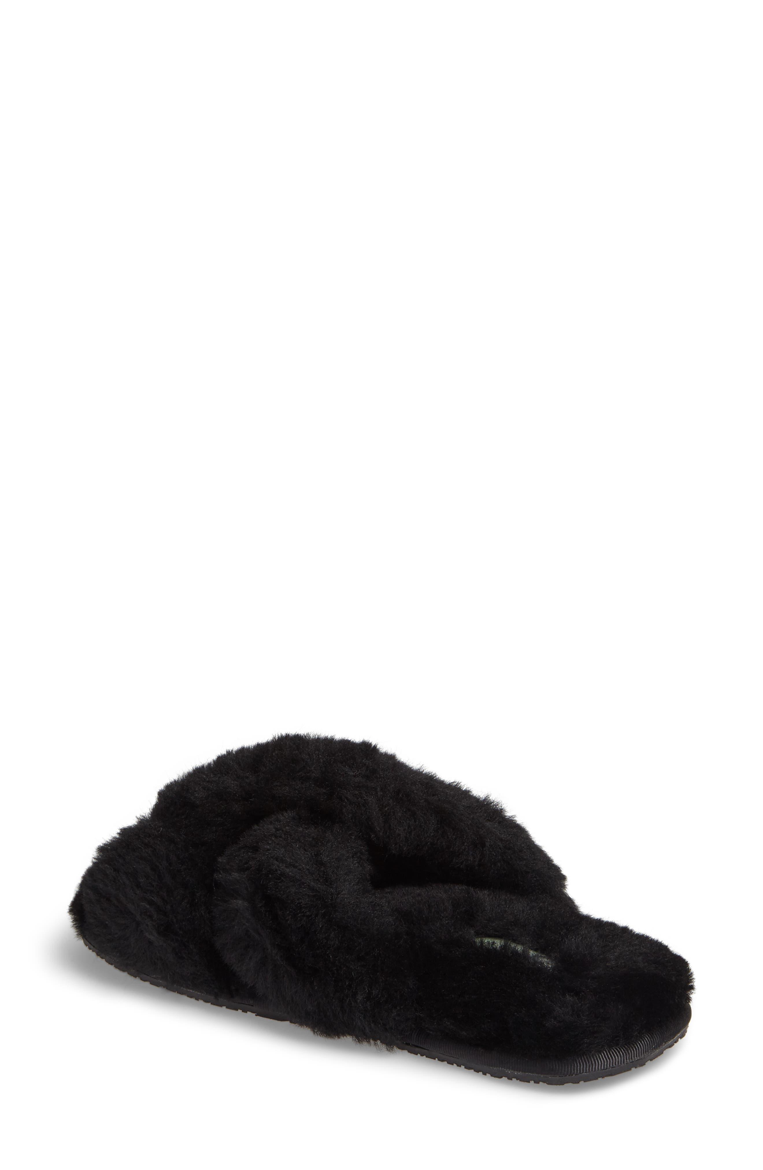 Mt. Hood Genuine Shearling Slipper,                             Alternate thumbnail 2, color,                             BLACK