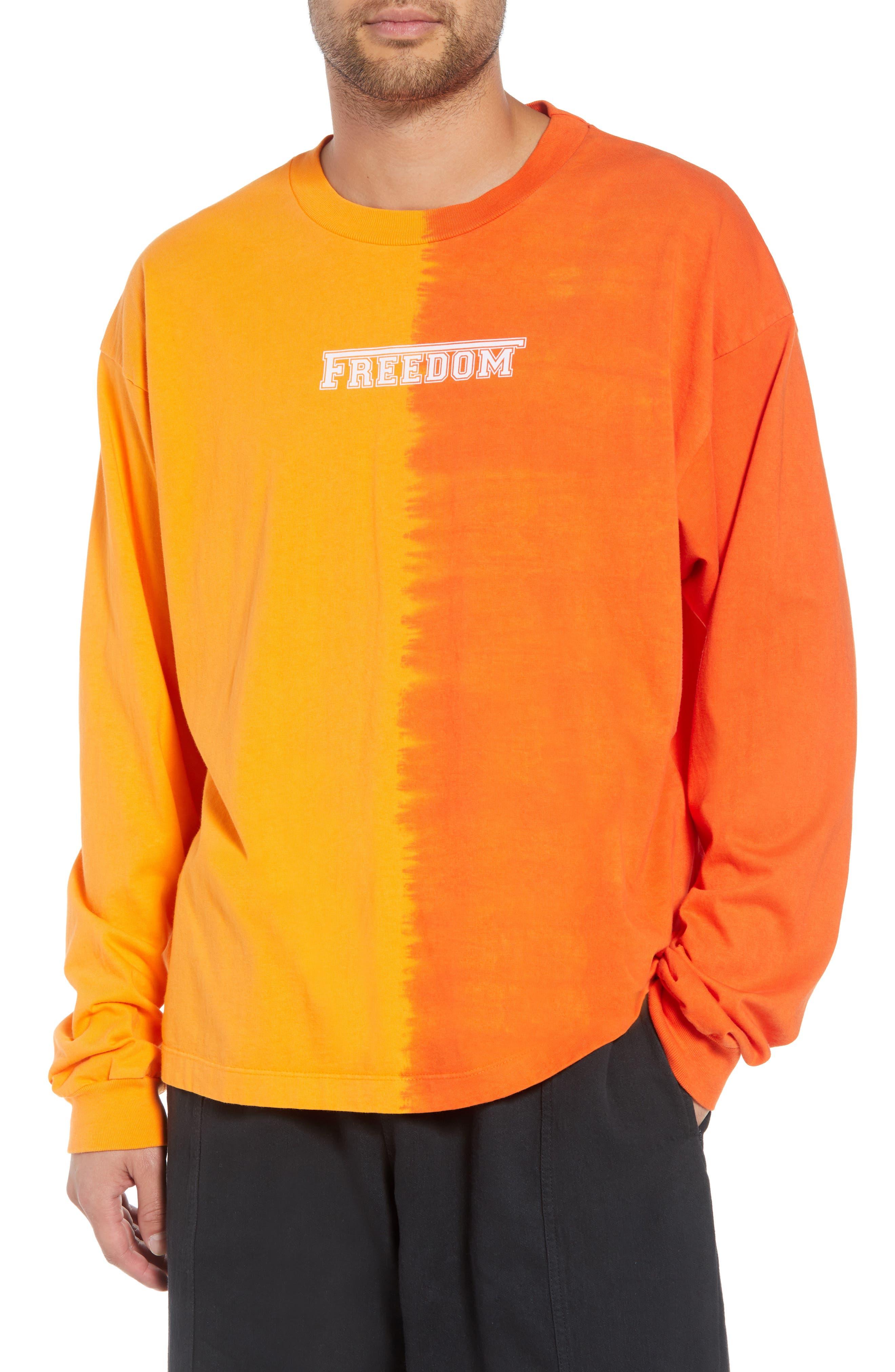 DRIFTER Atari Long Sleeve T-Shirt in Apricot/ Flame Orange