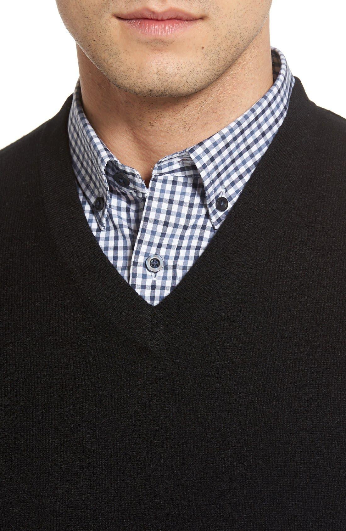Cashmere V-Neck Sweater Vest,                             Alternate thumbnail 9, color,                             BLACK CAVIAR