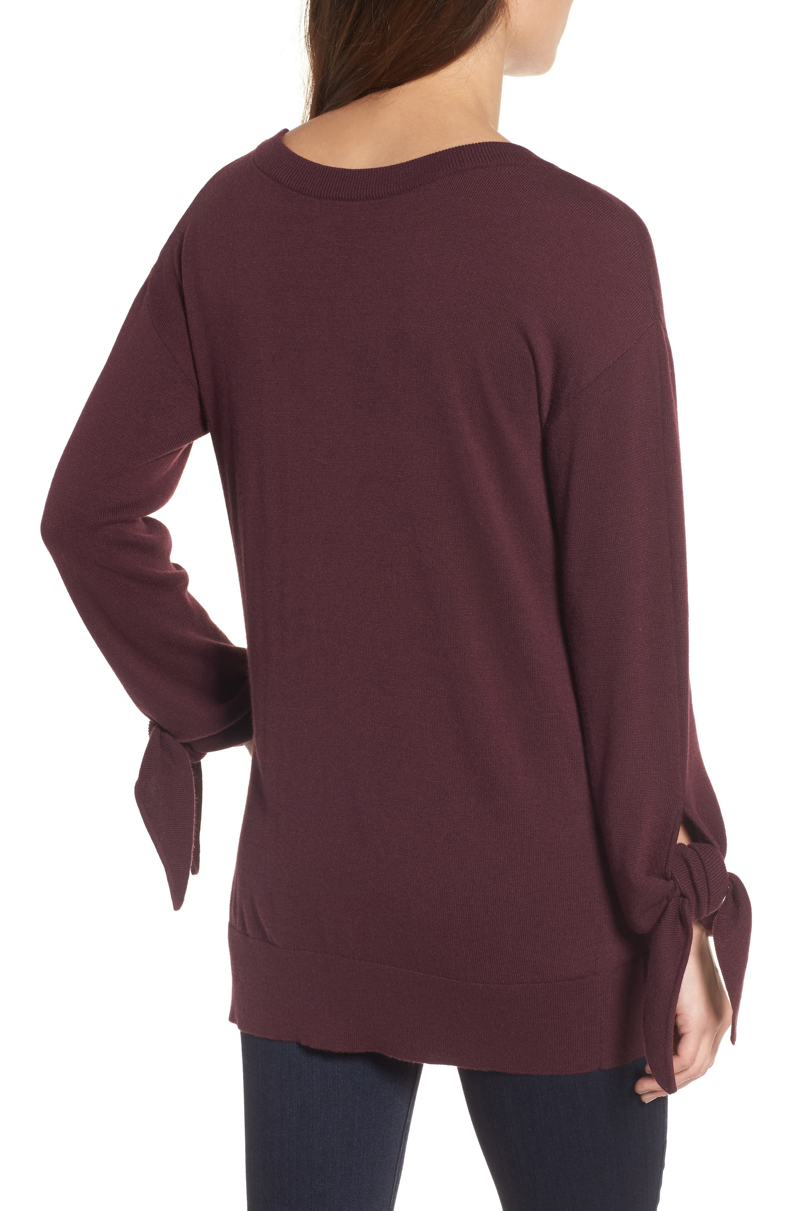 Tie Sleeve Sweater,                             Alternate thumbnail 8, color,