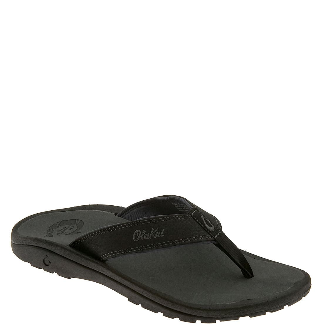 'Ohana' Flip Flop,                             Main thumbnail 1, color,                             BLACK/ DARK SHADOW