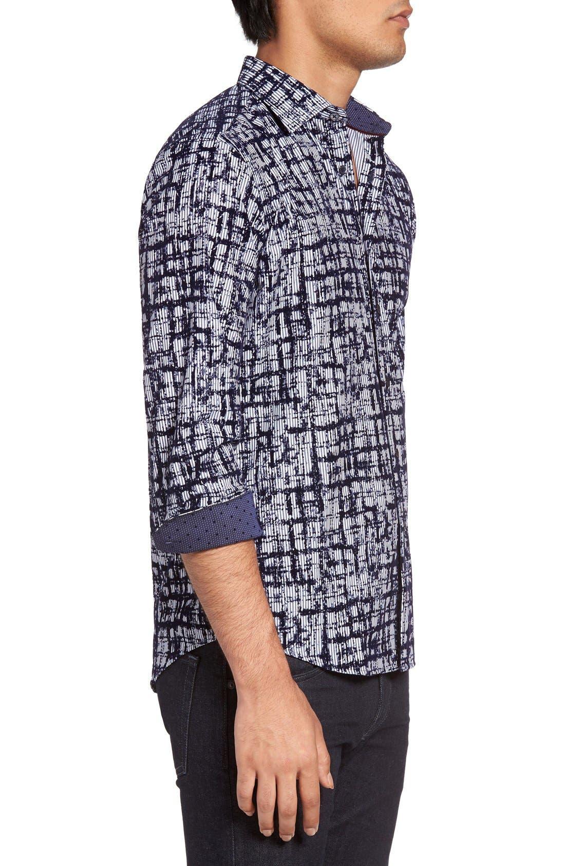 Shaped Fit Sport Shirt,                             Alternate thumbnail 3, color,                             NAVY
