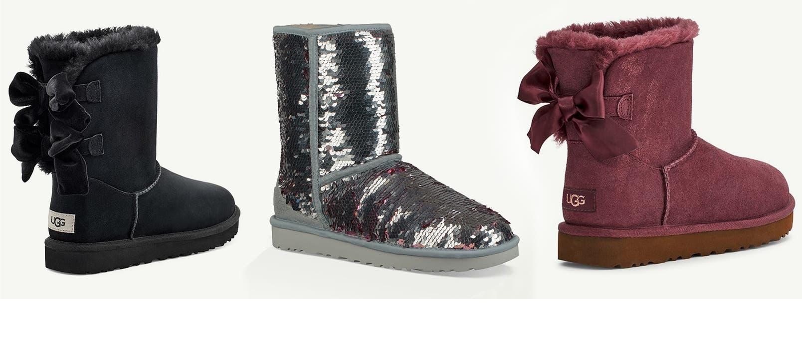 A mid-height black boot with two black ribbon ties; a short, light gray boot covered in silver sequins; and a short, plum-colored boot with one ribbon tie in the back.