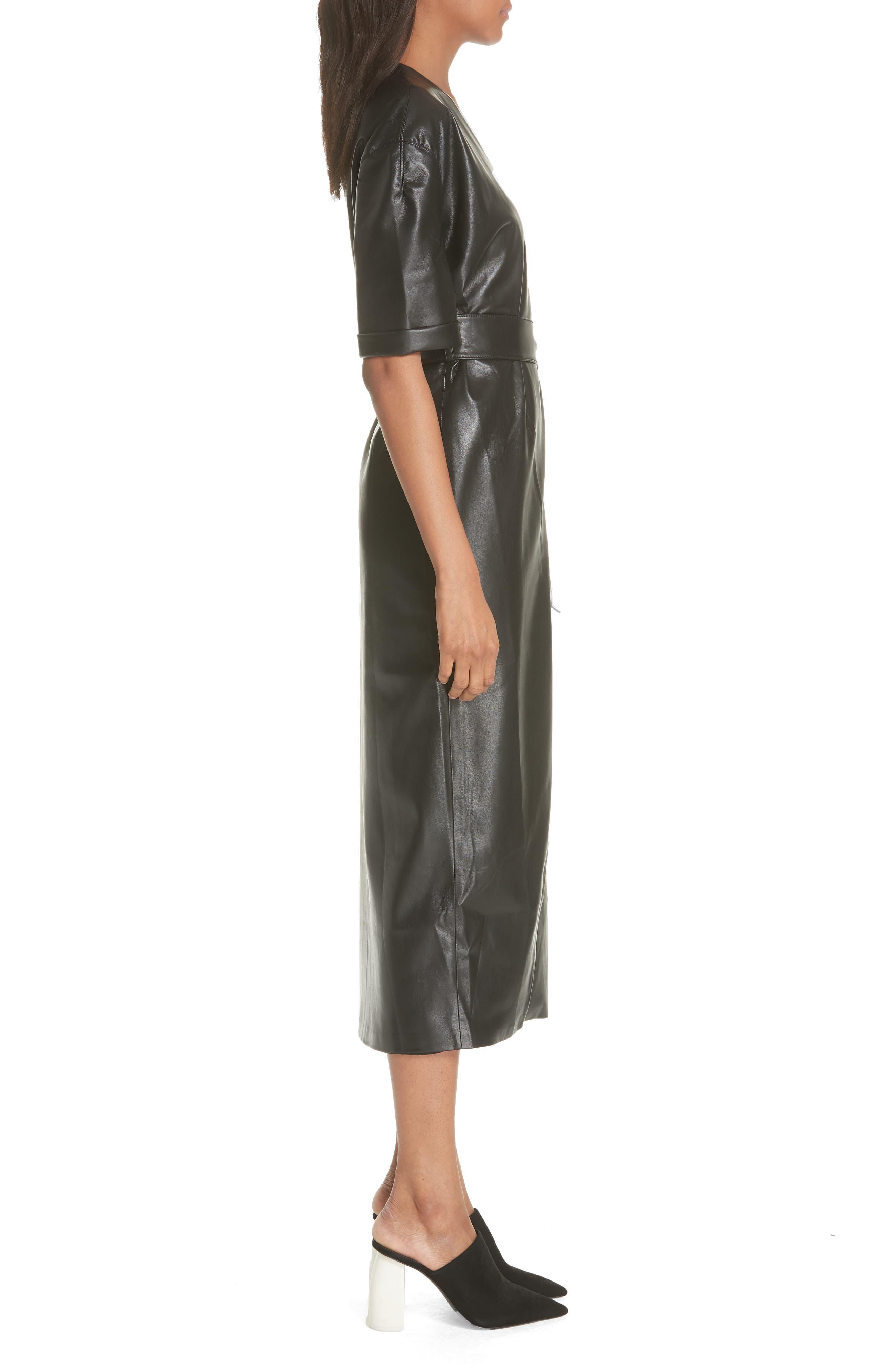 Penelope Faux Leather Wrap Dress,                             Alternate thumbnail 3, color,                             BLACK