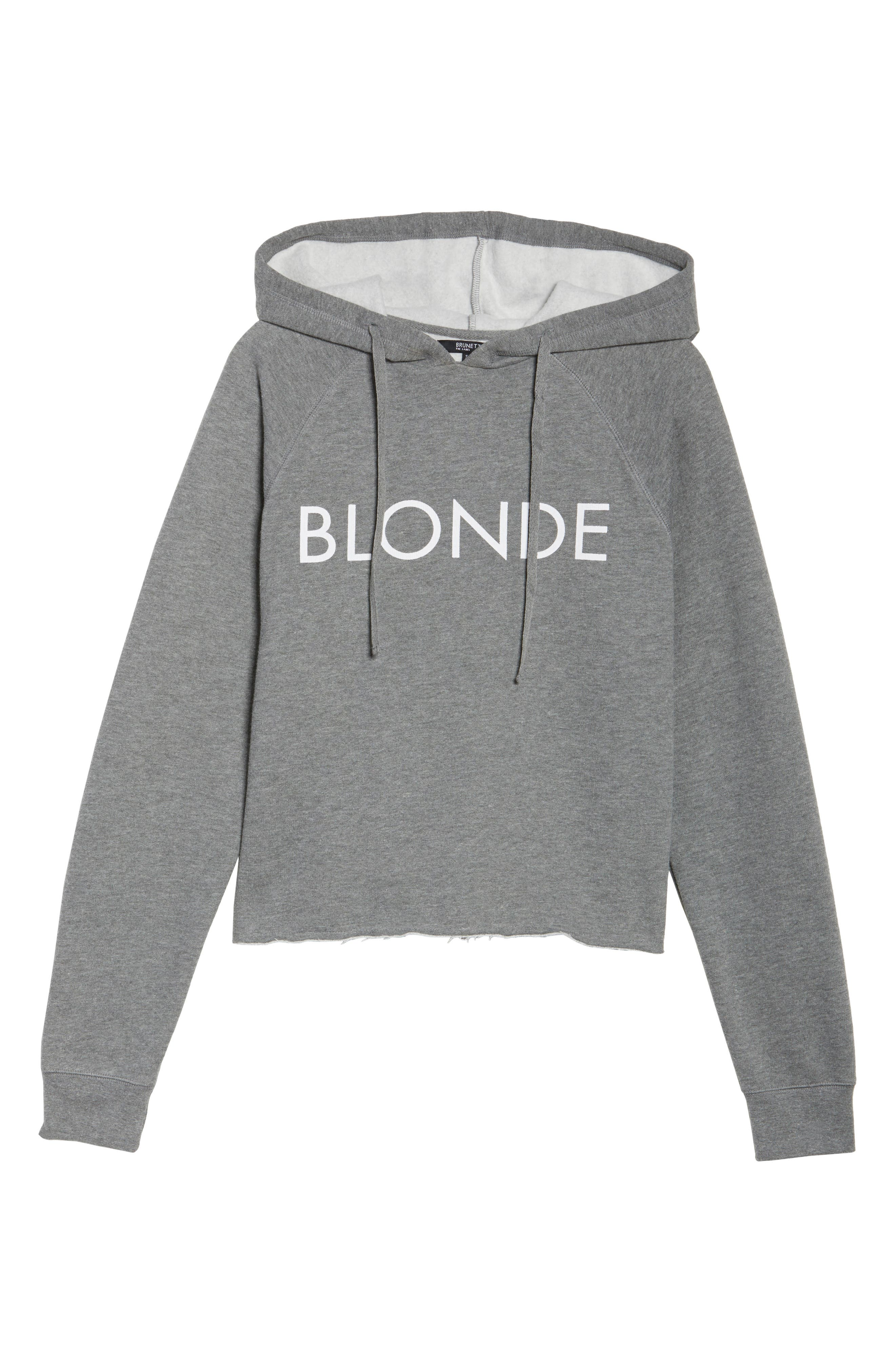 Blonde Raw Hem Hoodie,                             Alternate thumbnail 6, color,                             HEATHER GREY WHITE