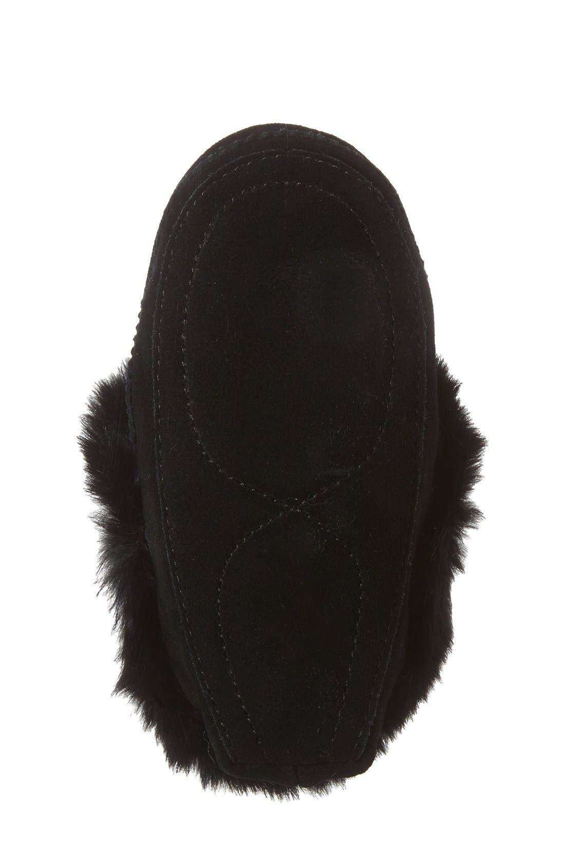 Genuine Rabbit Fur Moccasin,                             Alternate thumbnail 4, color,                             BLACK SUEDE