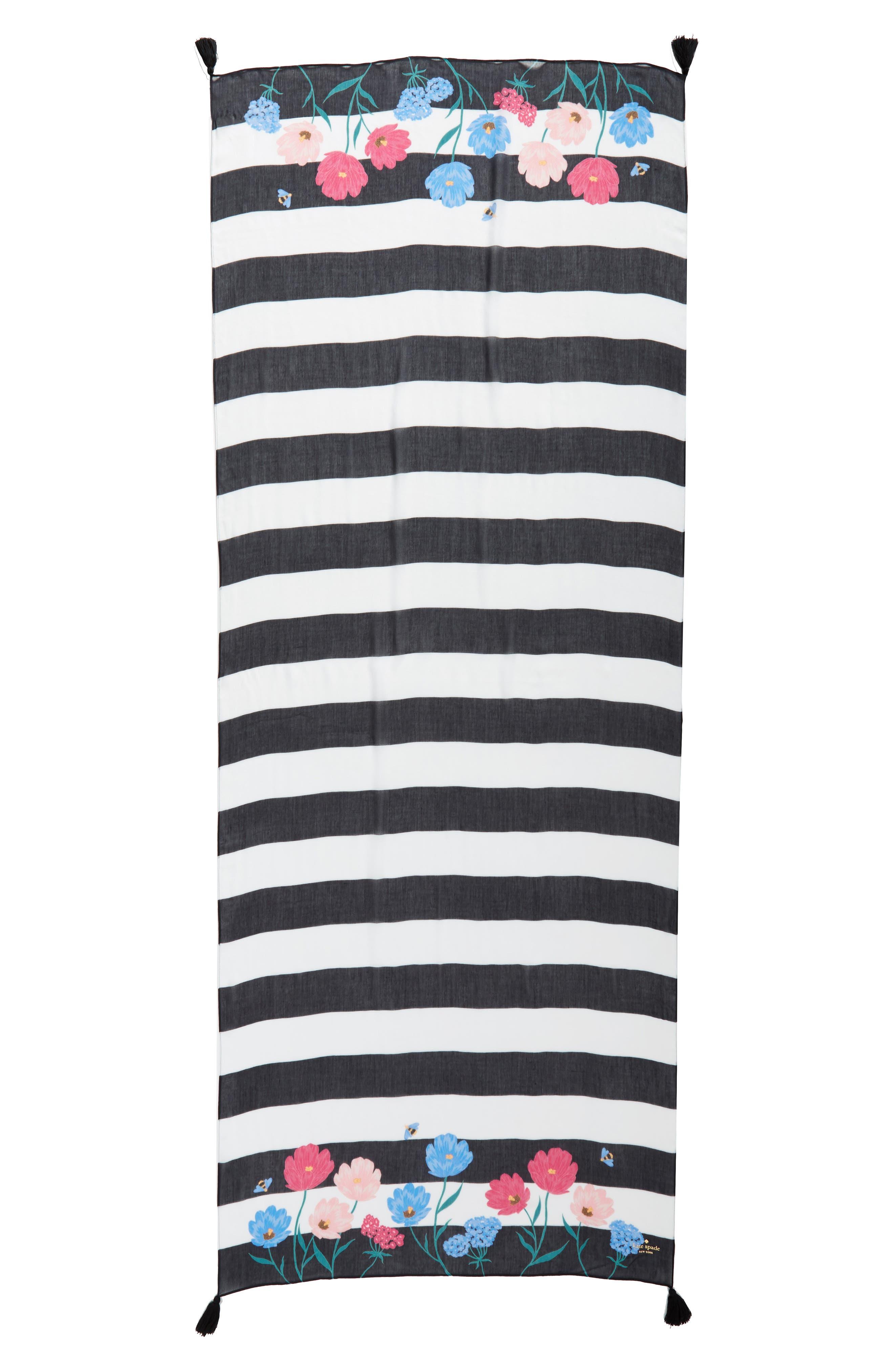 blossom stripe scarf,                             Alternate thumbnail 3, color,                             001