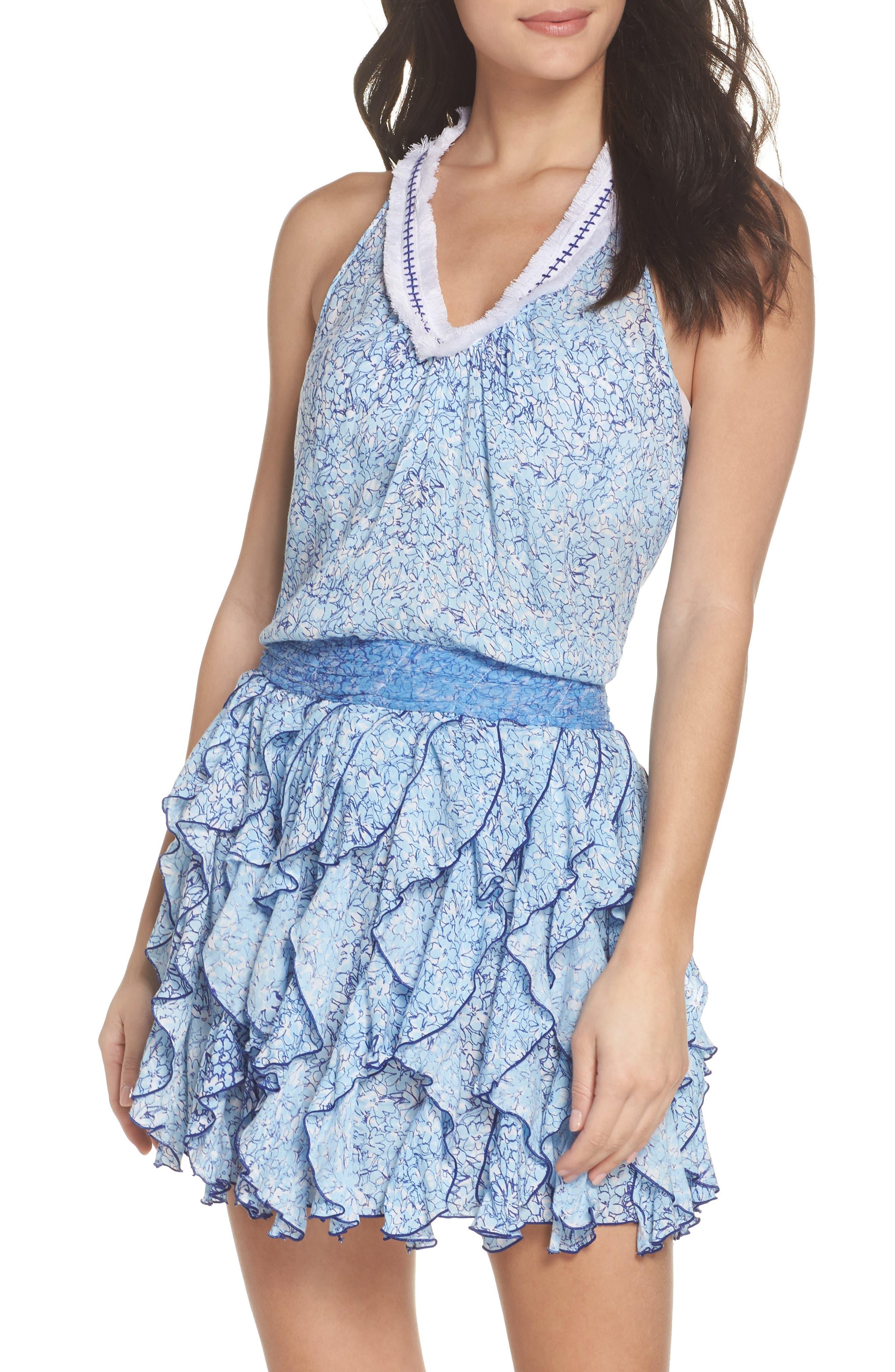 Poupette St. Barth Beline Cover-Up Dress,                             Main thumbnail 1, color,                             BLUE JOY