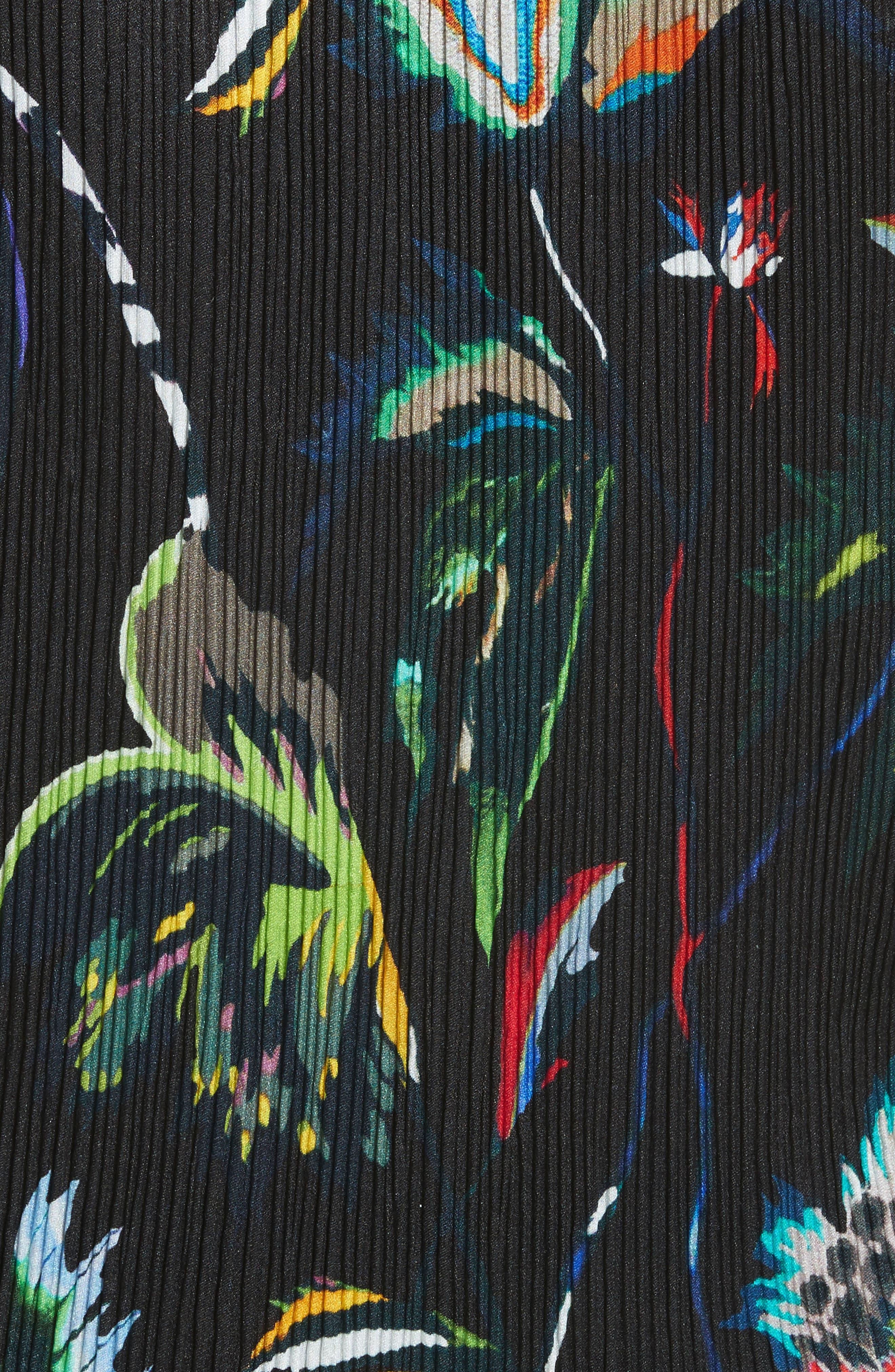 Floral Print Plissé Silk Crepon Dress,                             Alternate thumbnail 5, color,