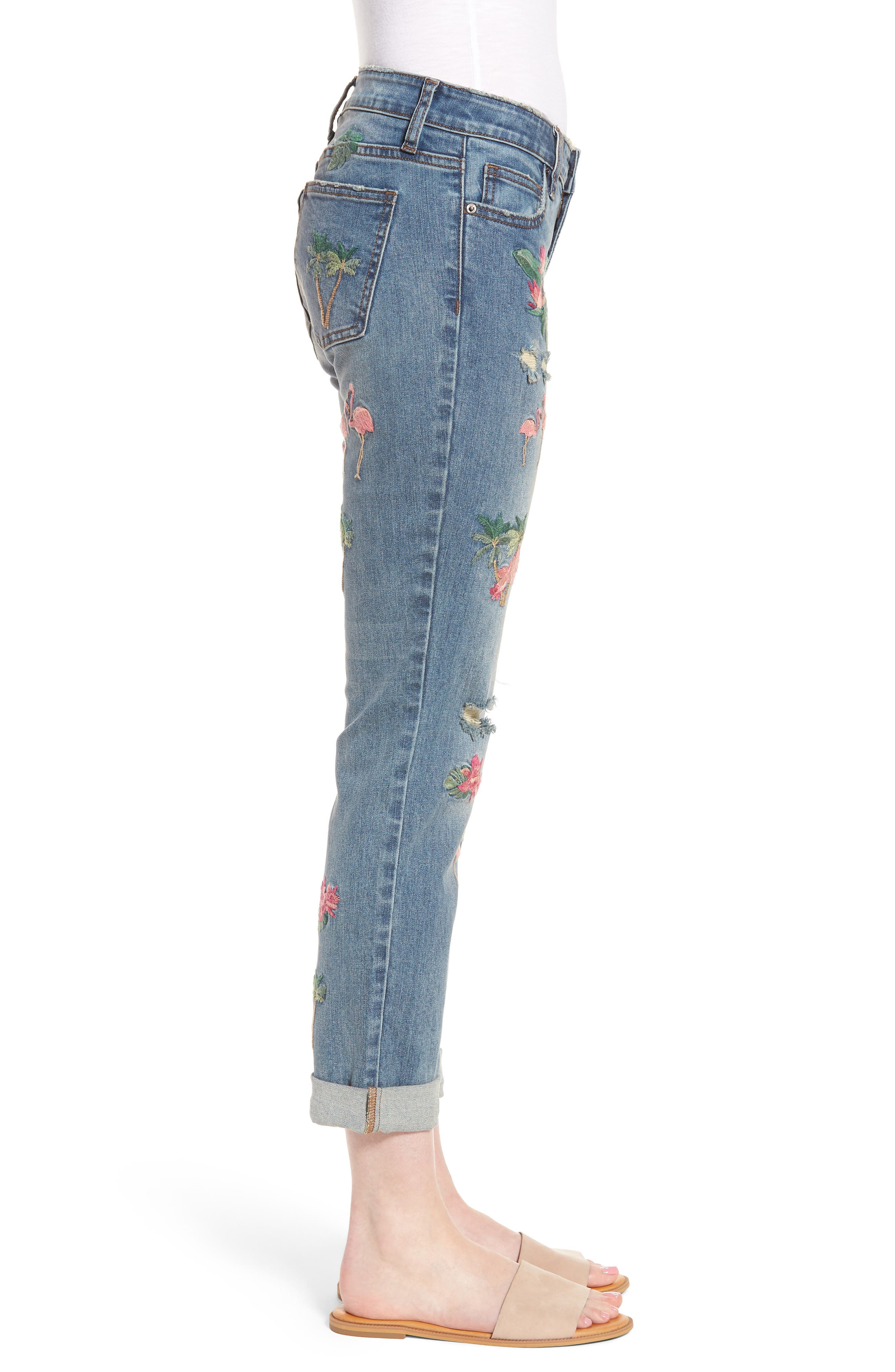Flamingo Embroidery Jeans,                             Alternate thumbnail 2, color,                             BLUE W/ EMBROIDER
