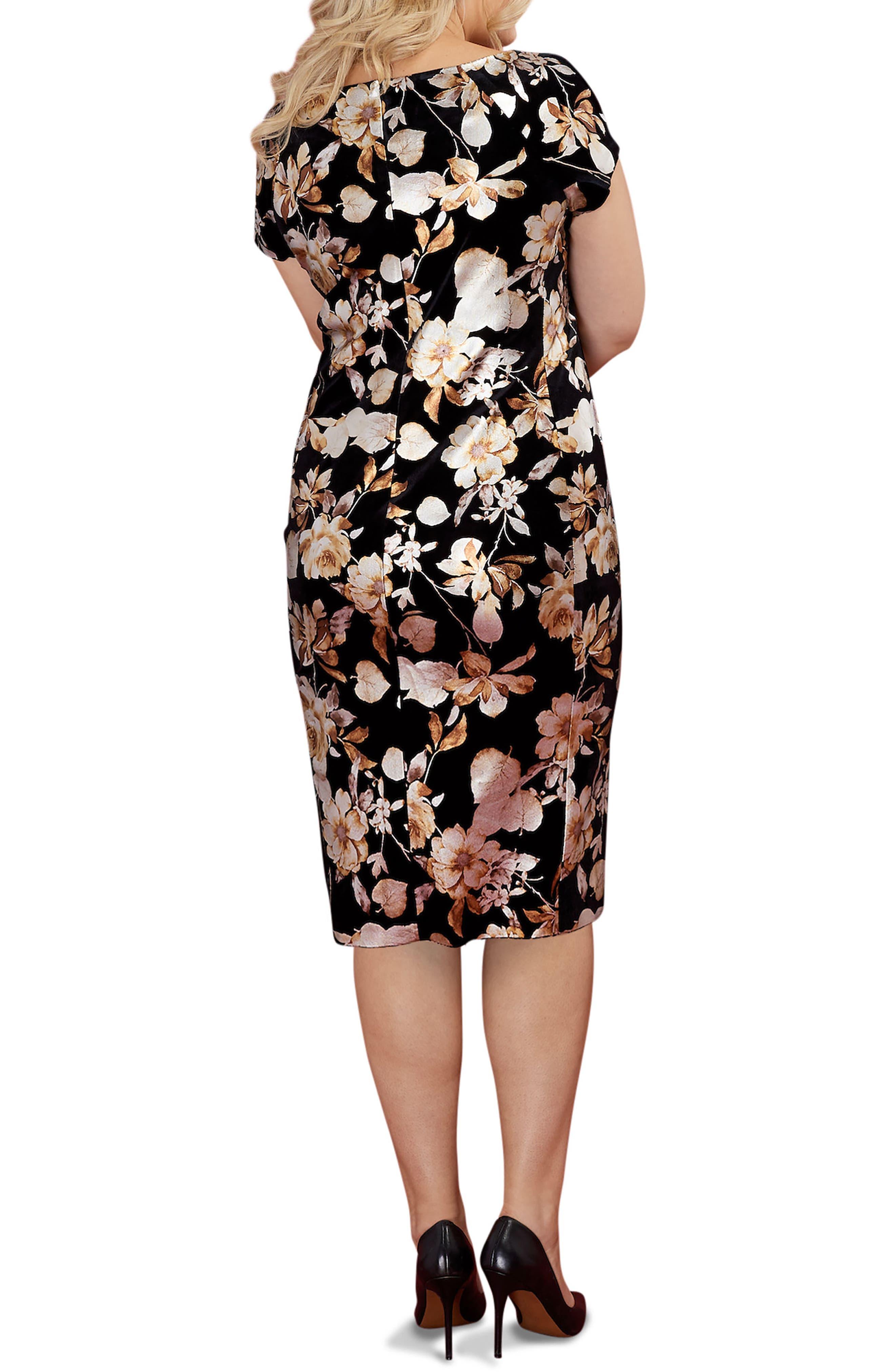 Foiled Velvet Burnout Sheath Dress,                             Alternate thumbnail 2, color,                             714