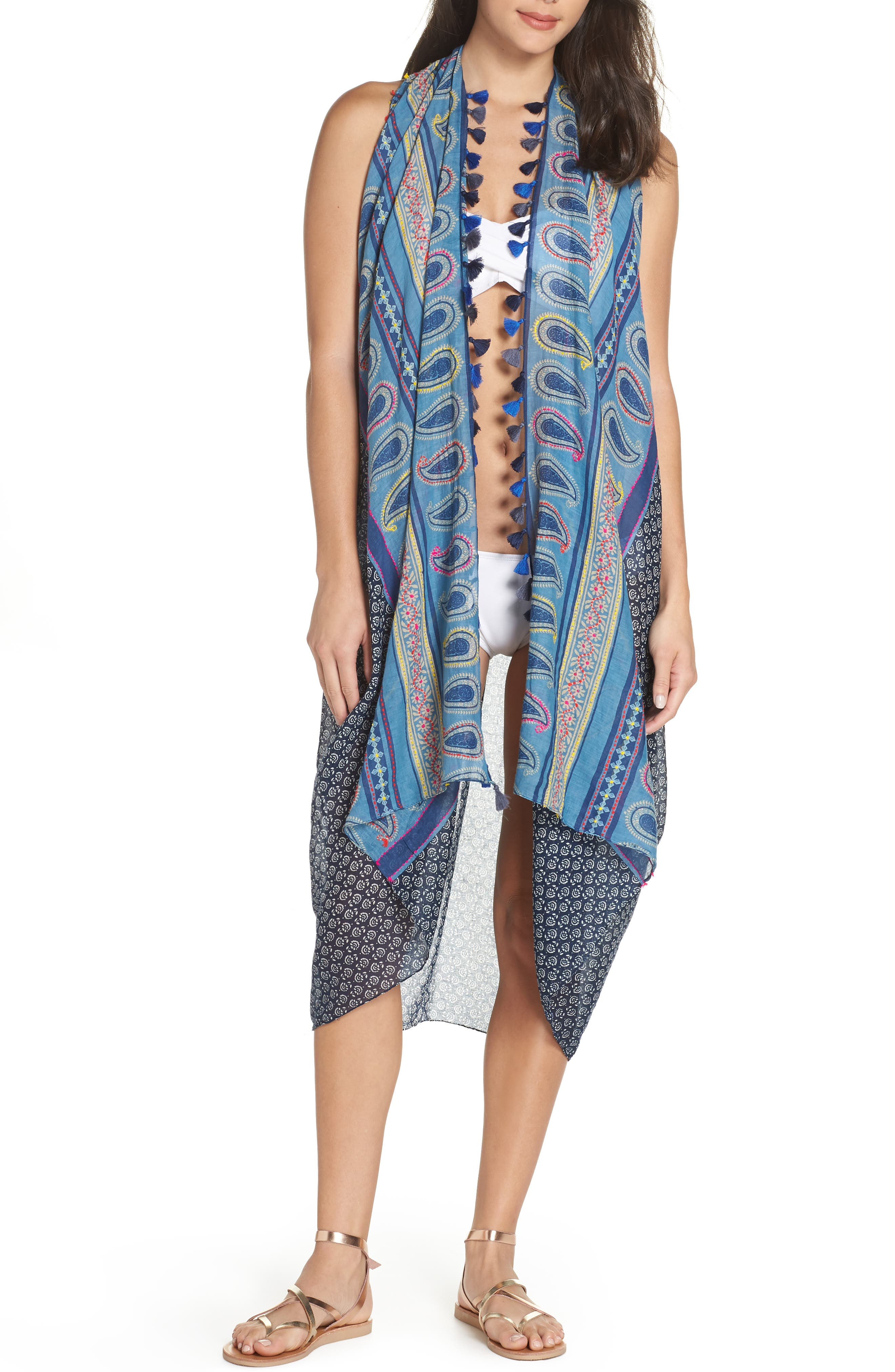 Pool To Party Spirit Cover-Up Vest, Size One Size - Blue