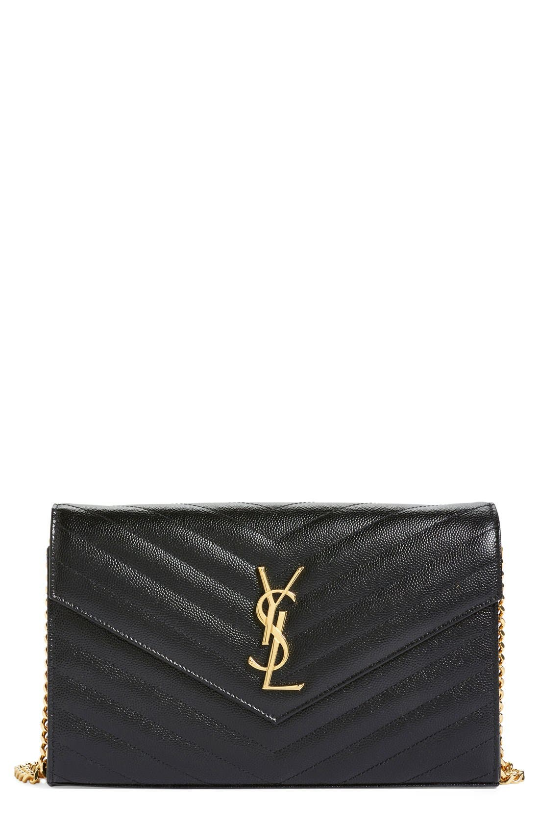 'Large Monogram' Quilted Leather Wallet on a Chain,                         Main,                         color, NOIR
