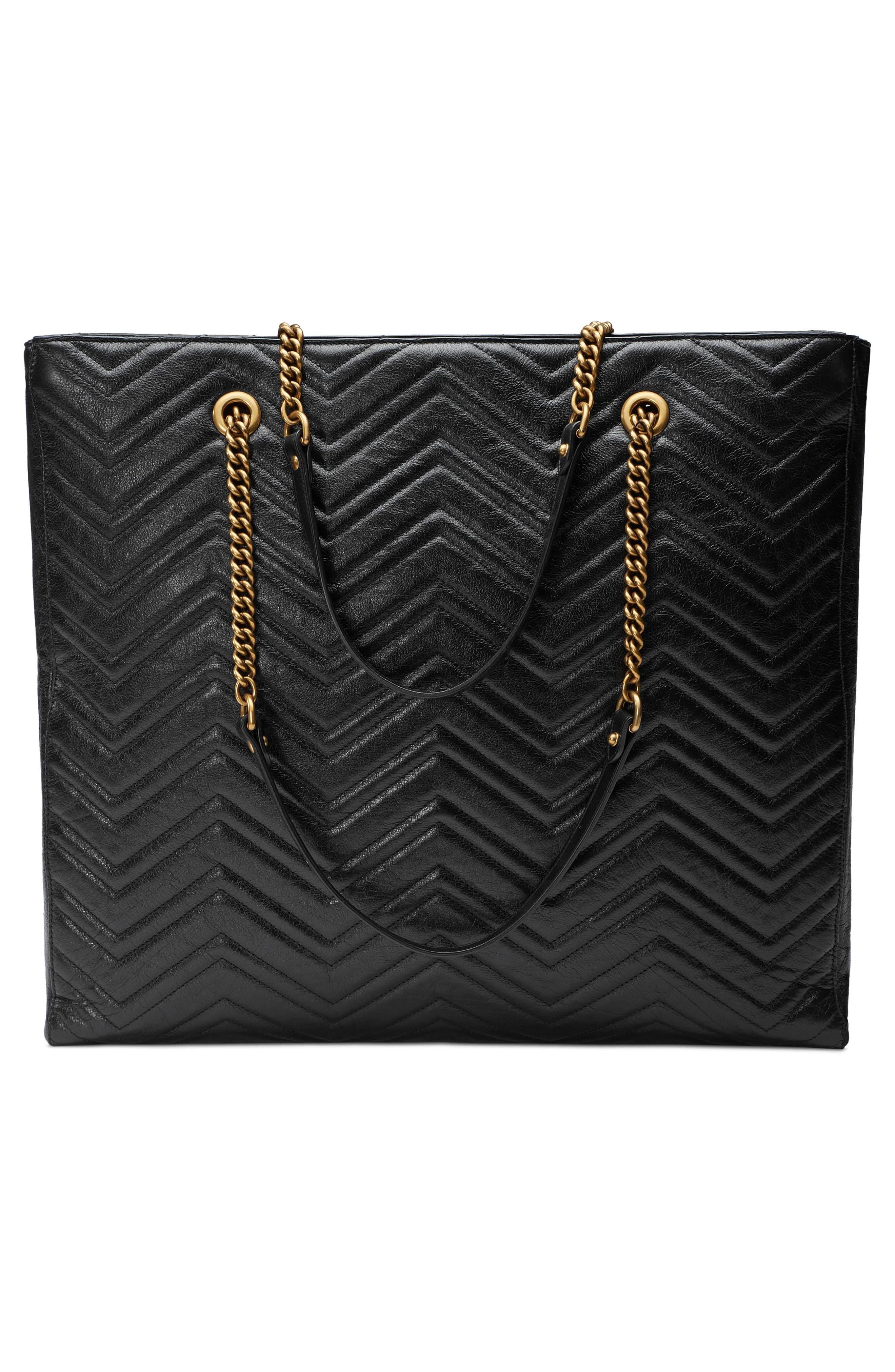 GG Marmont 2.0 Matelassé Leather North/South Tote Bag,                             Alternate thumbnail 2, color,                             NERO/ NERO